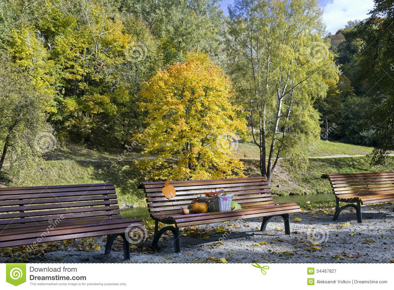 Autumn Gifts Concept Stock Image Image Of Bench Leaves