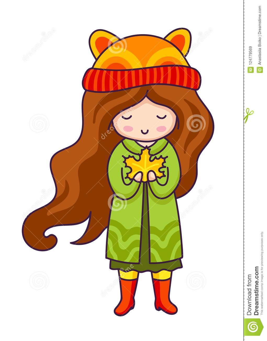 Autumn girl. Hand drawn little girl with maple leaf in her hands. Kawaii cartoon character.