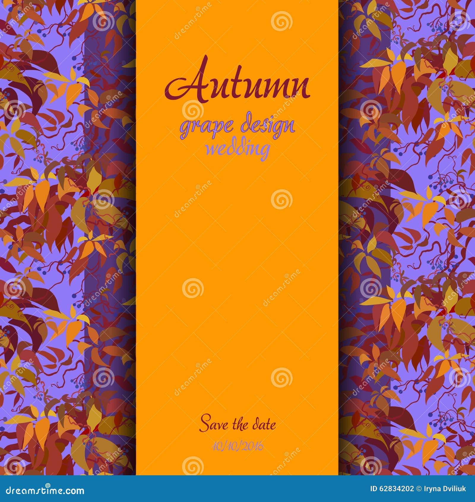 autumn grape with orange leaves background vertical border wedding design illustration 62834202 megapixl autumn grape with orange leaves background vertical border wedding design illustration 62834202 megapixl