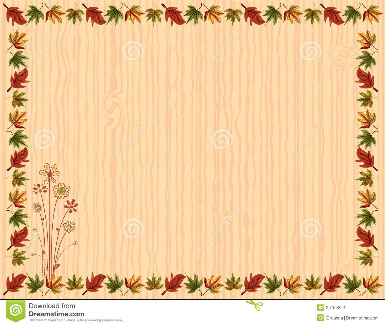 Autumn greeting card with leaves border and floral design vector file