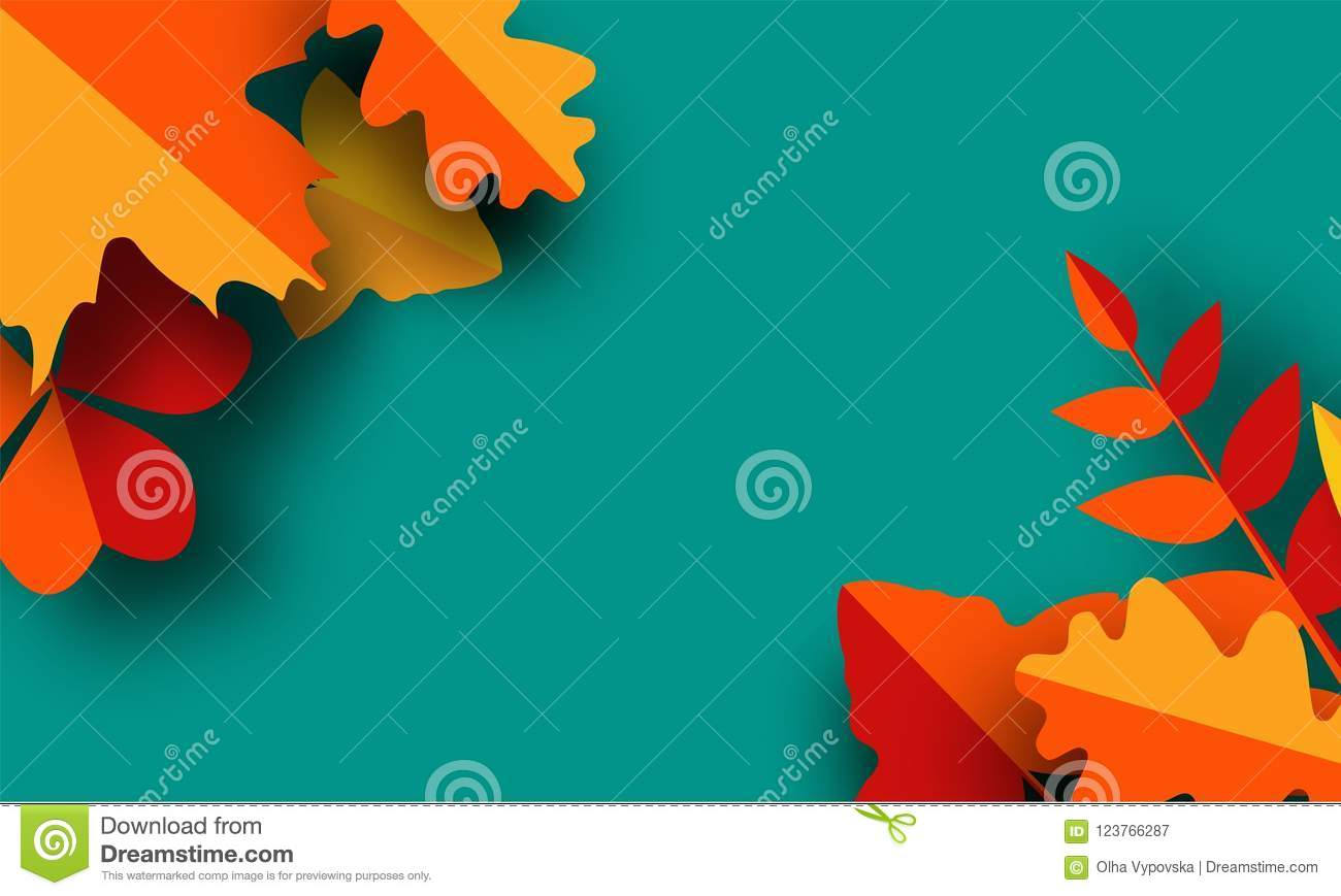 Autumn greeting card template. Fall illustration with paper cut orange, red and yellow leaves.