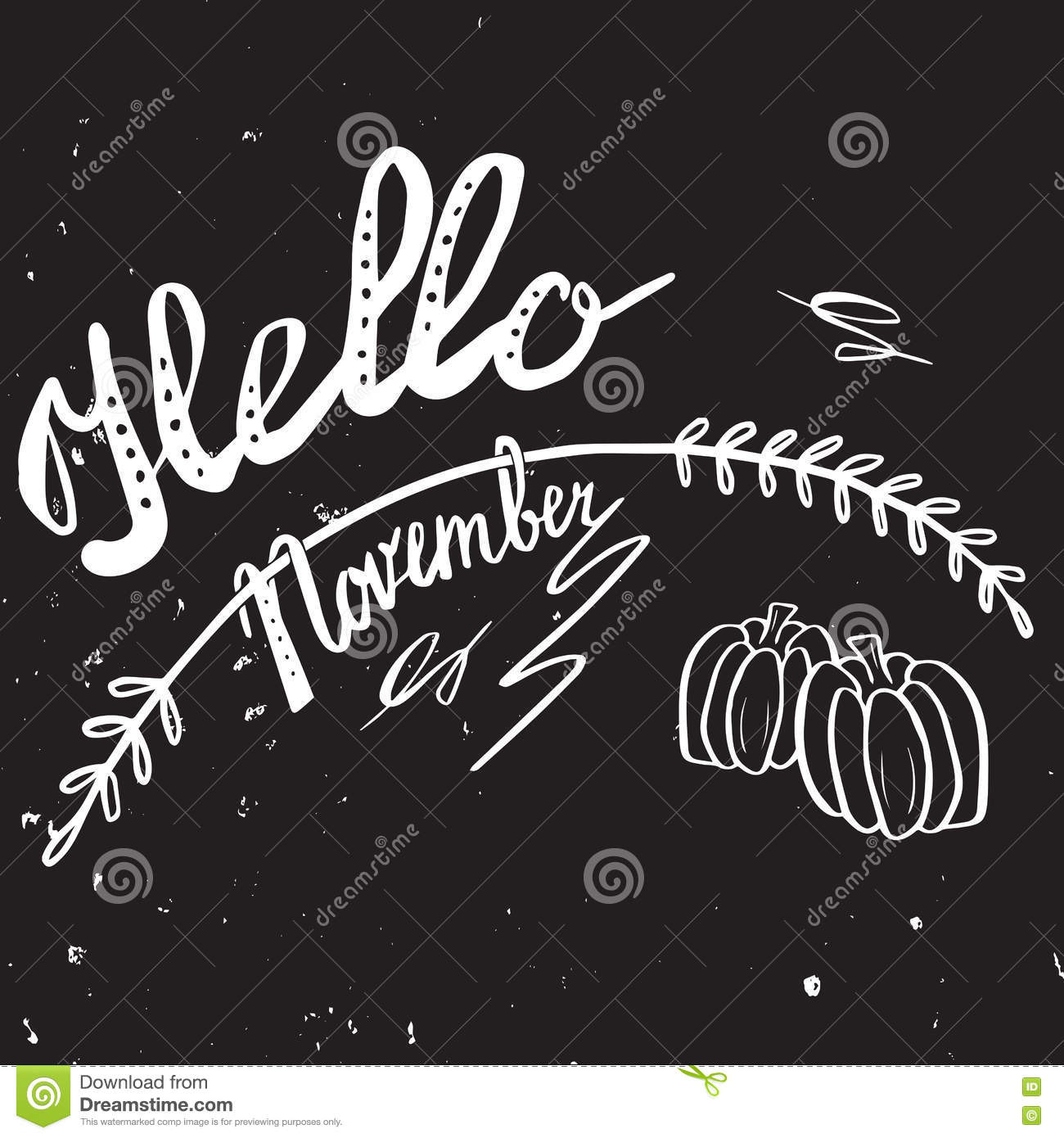 Autumn Hand Lettering And Calligraphy Design Stock Vector