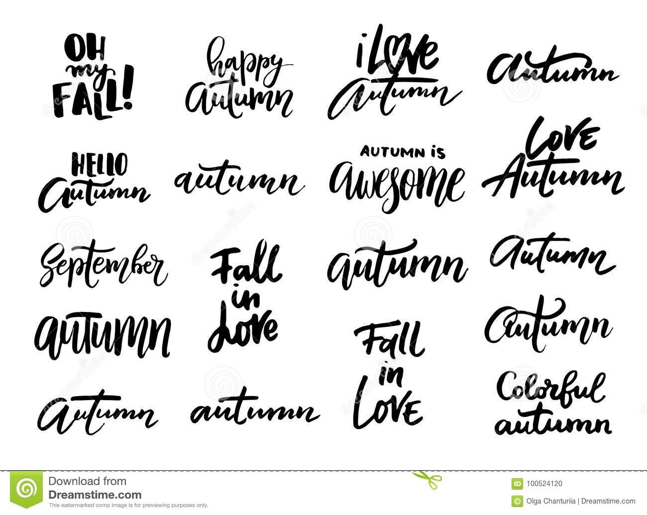 Autumn Hand Written Lettering Lwords And Phrases Stock Vector
