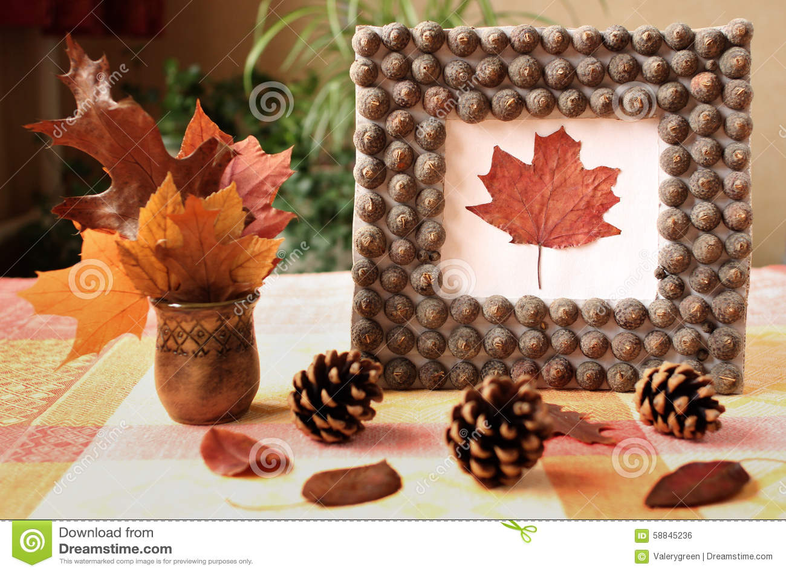 Autumn Handmade Frame From Acorn S Hat Stock Photo Image 58845236