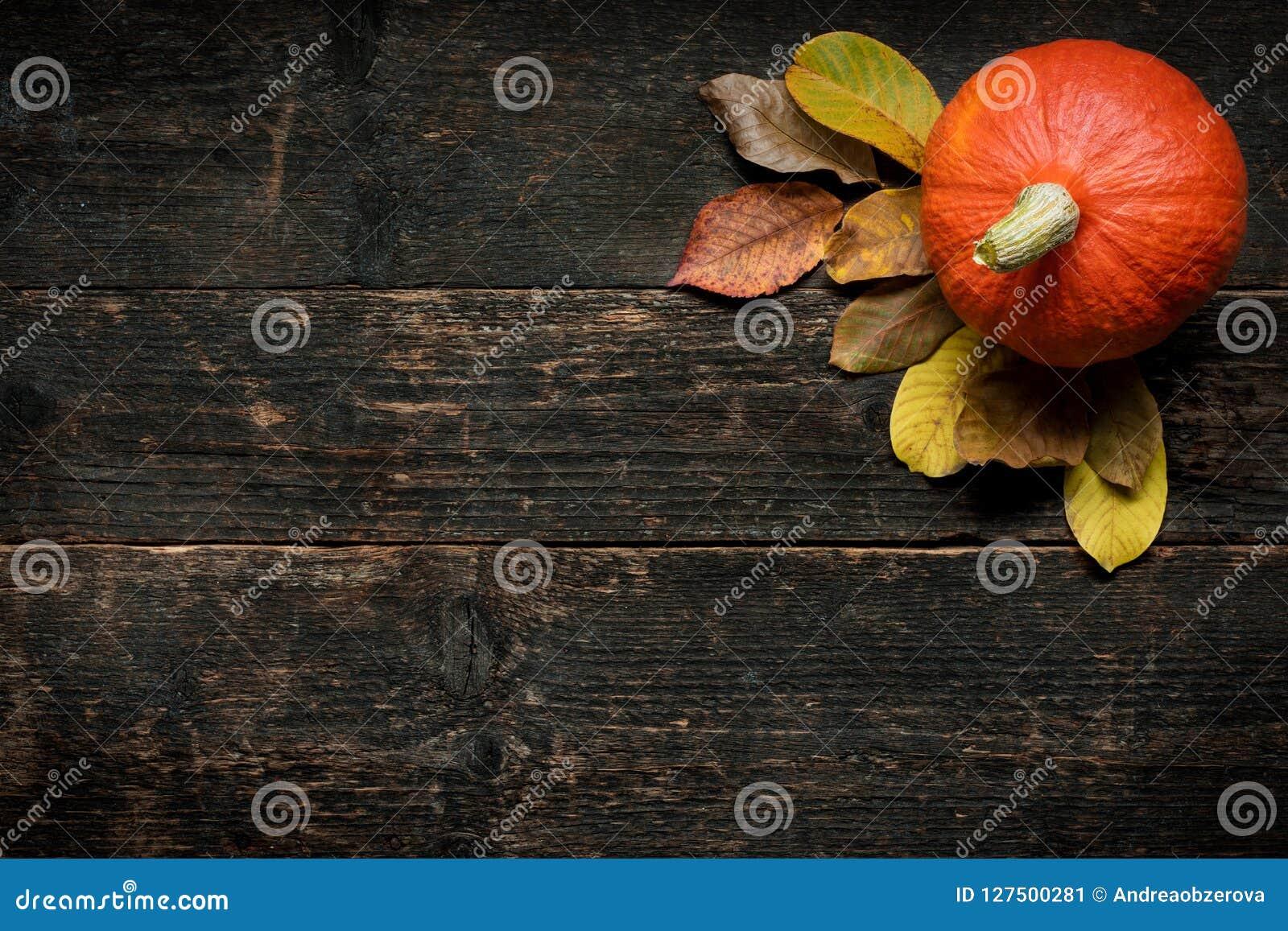 Autumn Harvest en Vakantie stilleven De gelukkige Achtergrond van de Dankzegging Pompoen en gevallen bladeren op donkere houten a