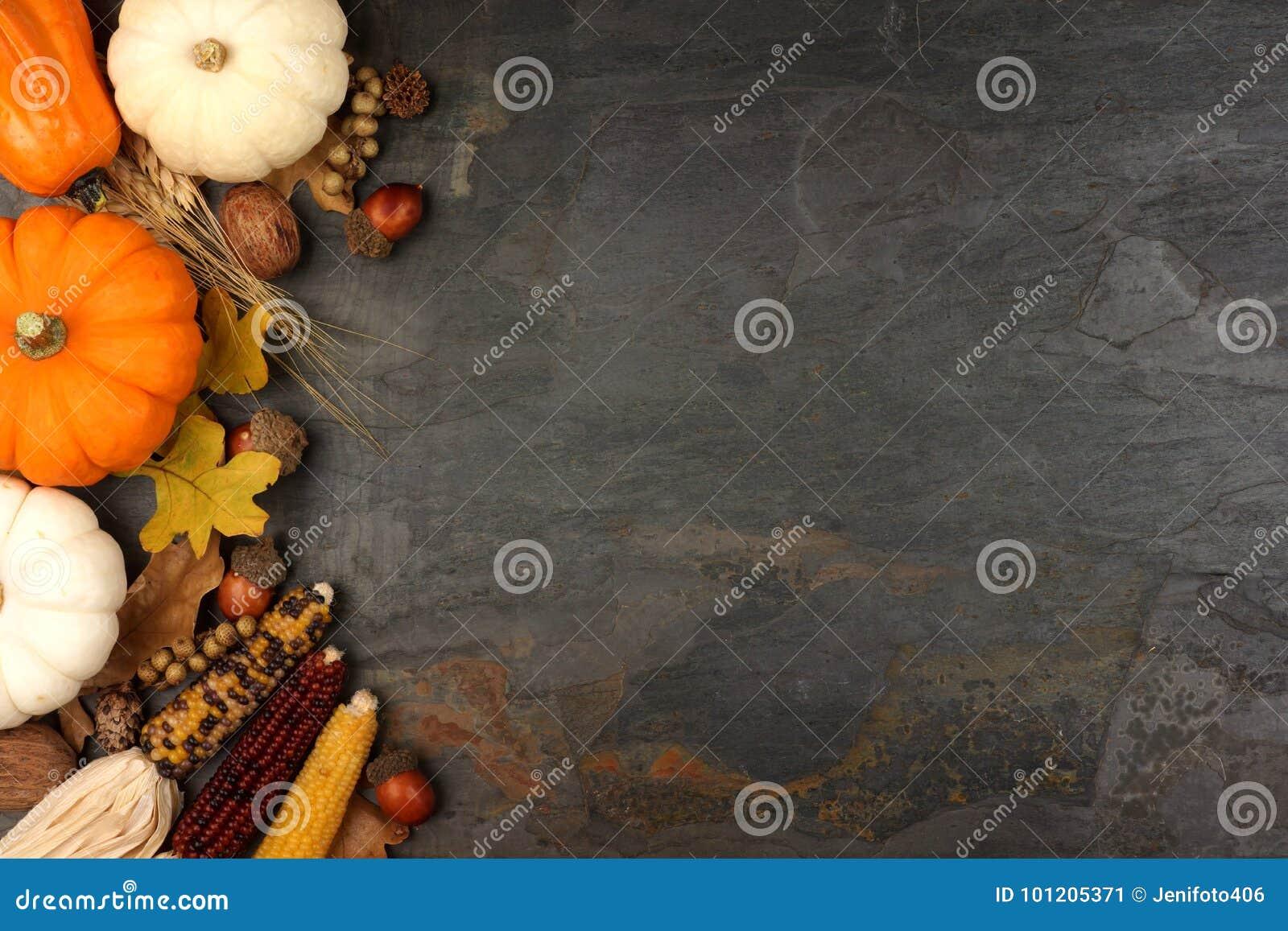 Autumn harvest side border over a slate background