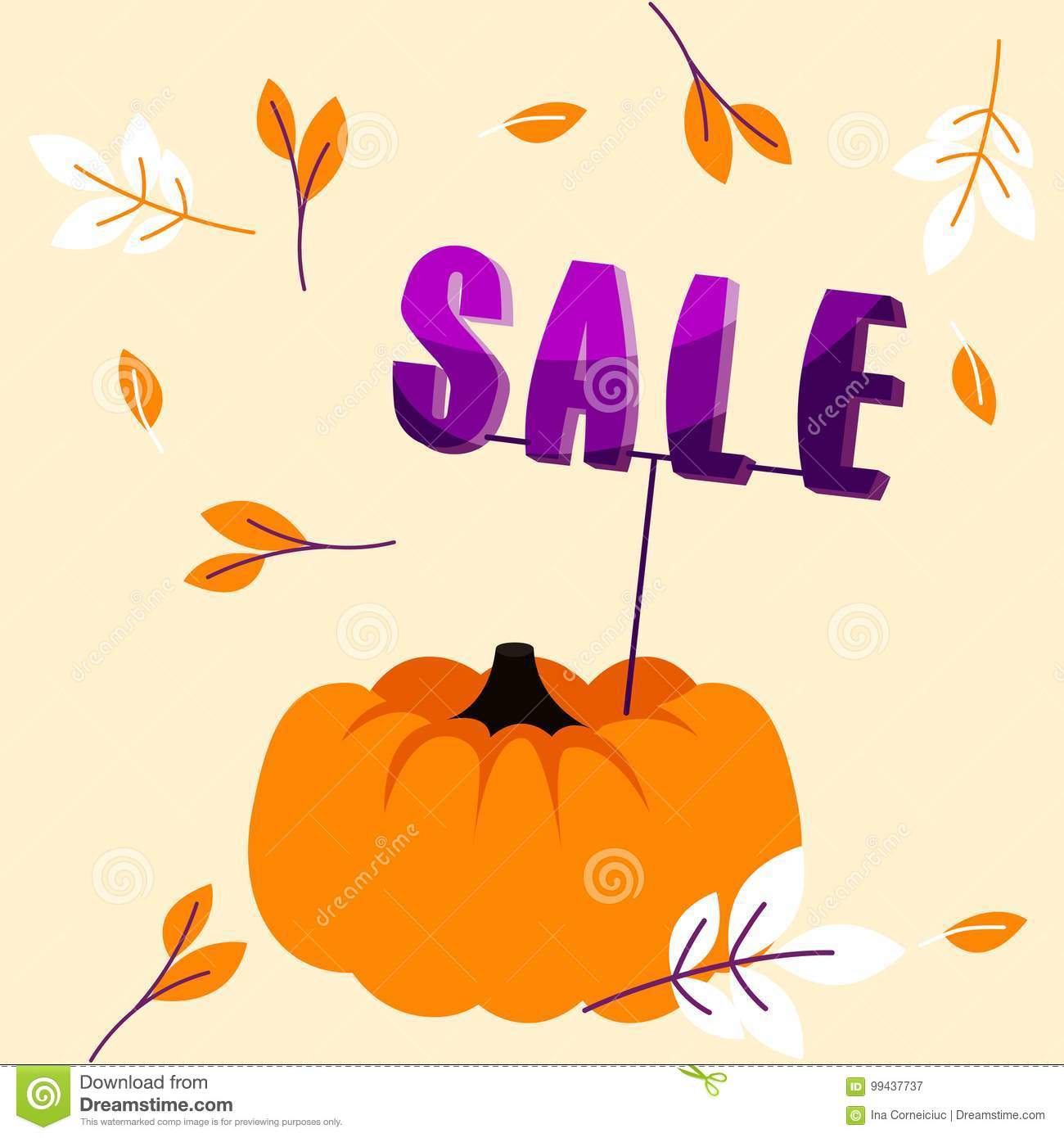 Autumn Holiday Sale Banner With Big Pumpkin And Fall Leaves Template