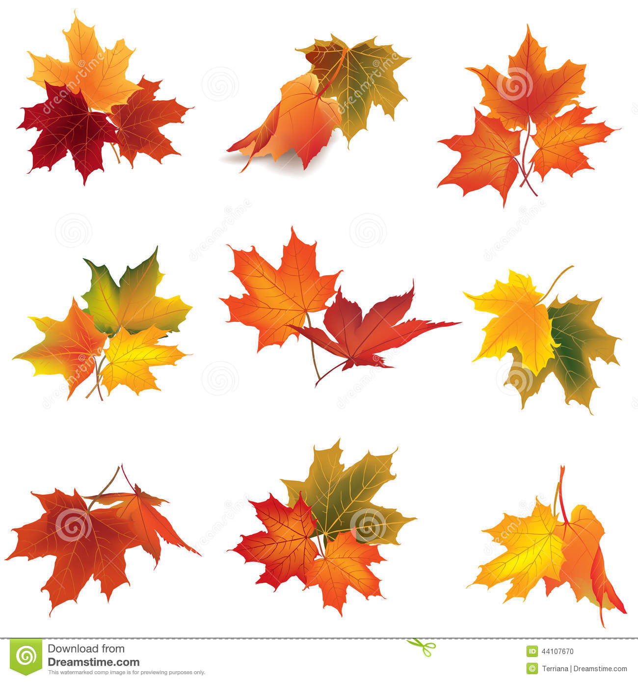 Autumn icon set fall leaves and berries nature symbol c