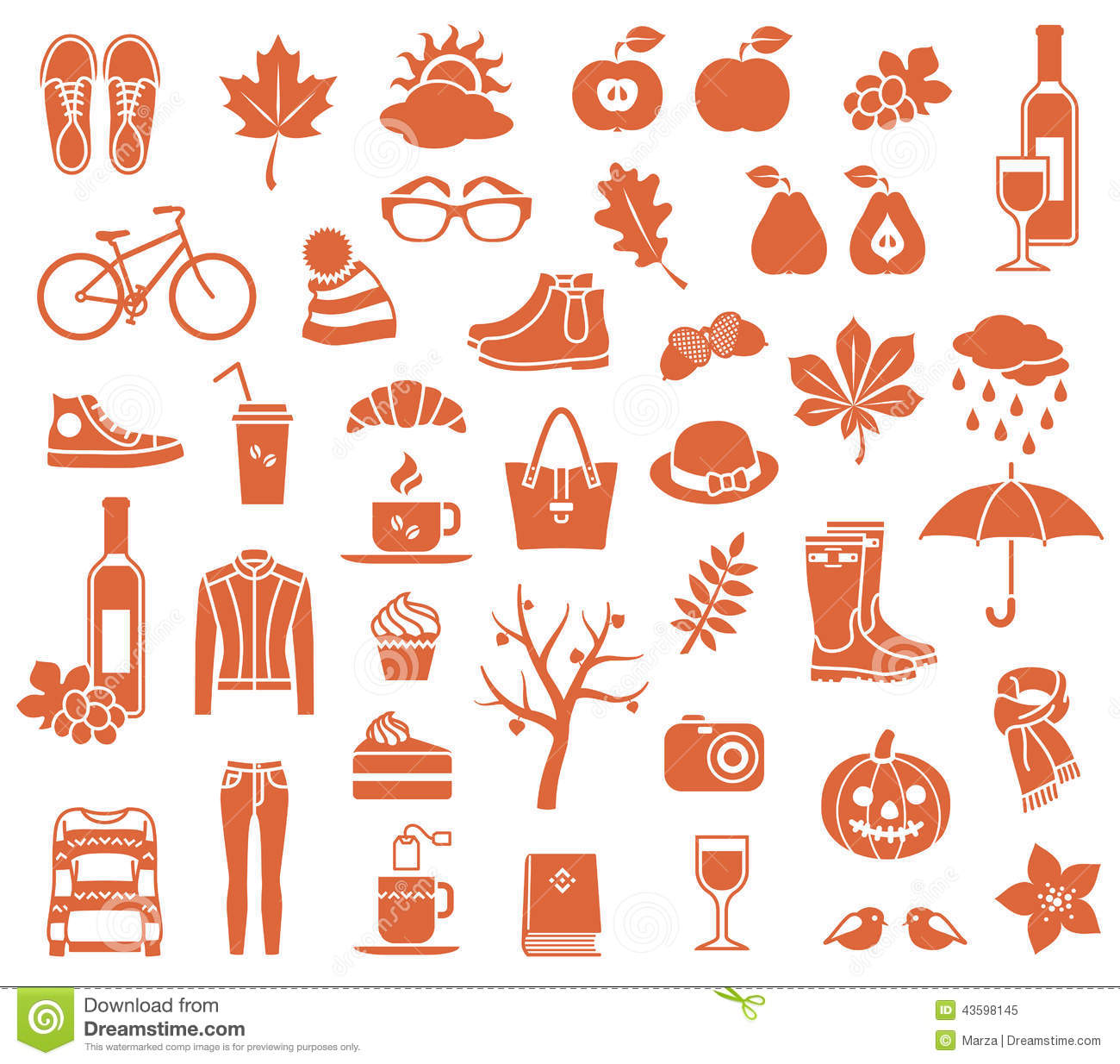 Autumn icons stock vector image 43598145