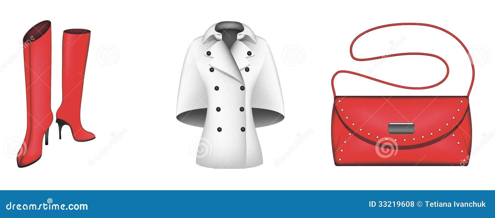 Autumn Icons Boots Coat Handbag Royalty Free Stock Photos Image 33219608