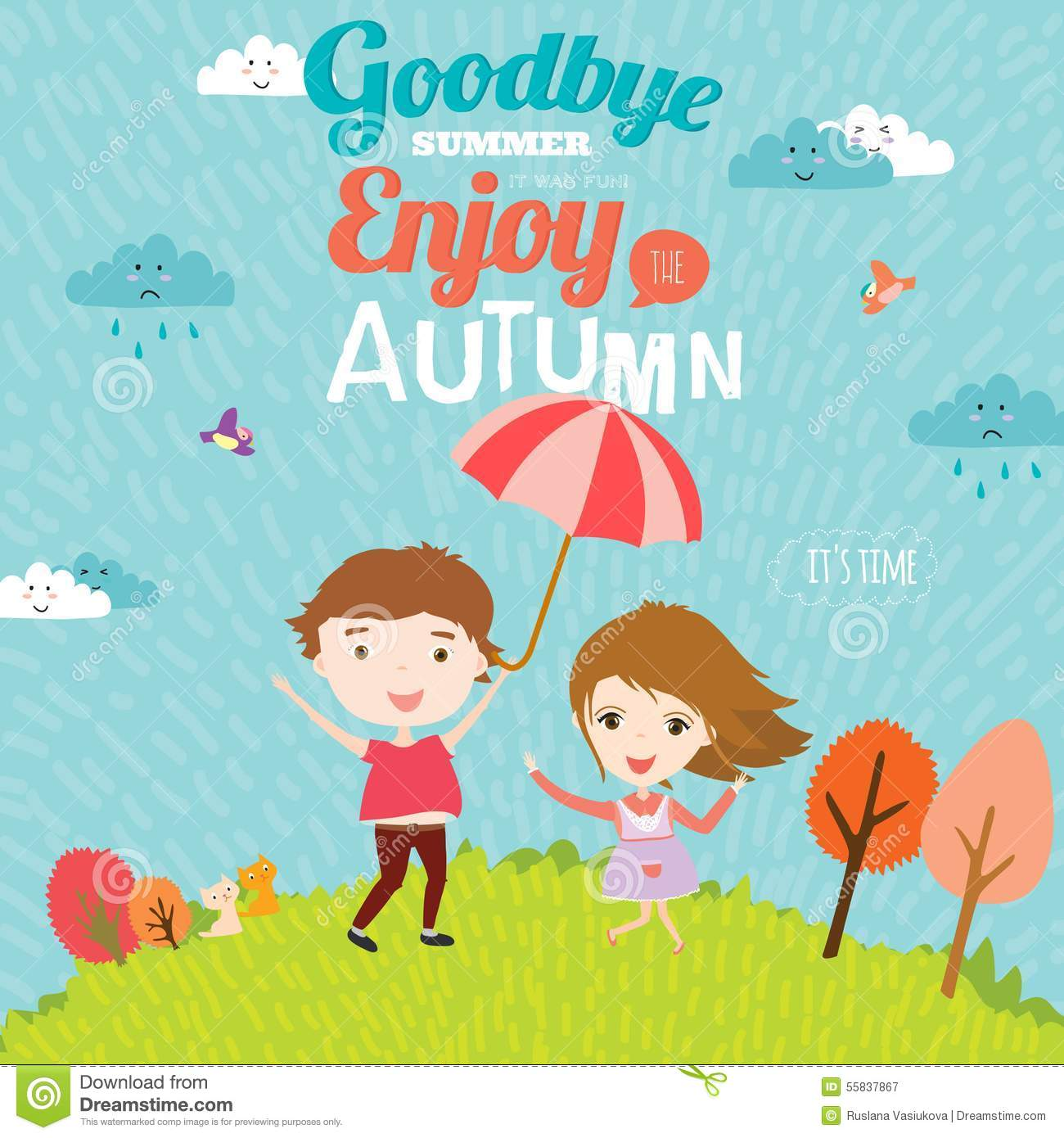 Autumn Illustration With Happy Kids Stock Vector - Image: 55837867