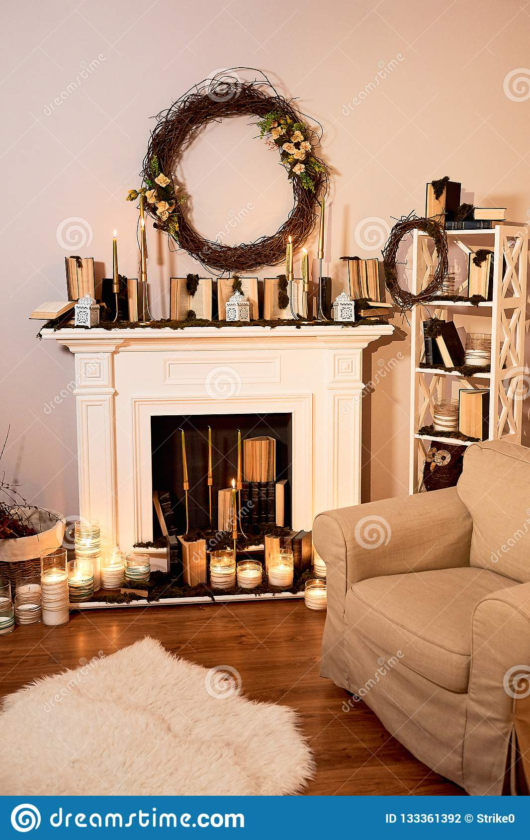 Autumn Interior The Concept Of Family Comfort Fireplace With