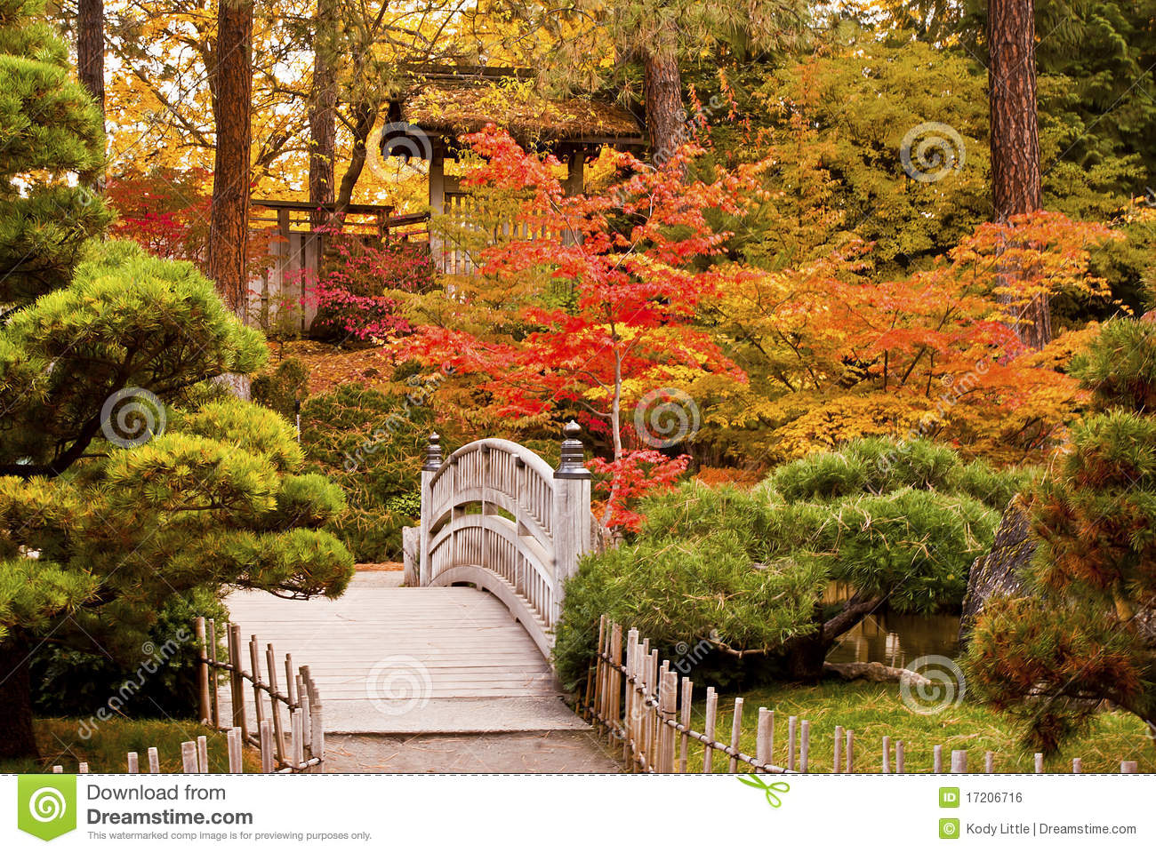 Red Japanese Bridge In An Autumn Garden Stock Photography Image