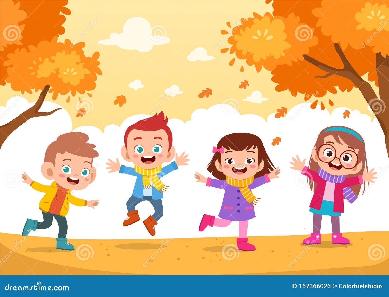 Autumn Kids Fall Vector Illustration Stock Illustration Illustration Of Season Kids 157366026