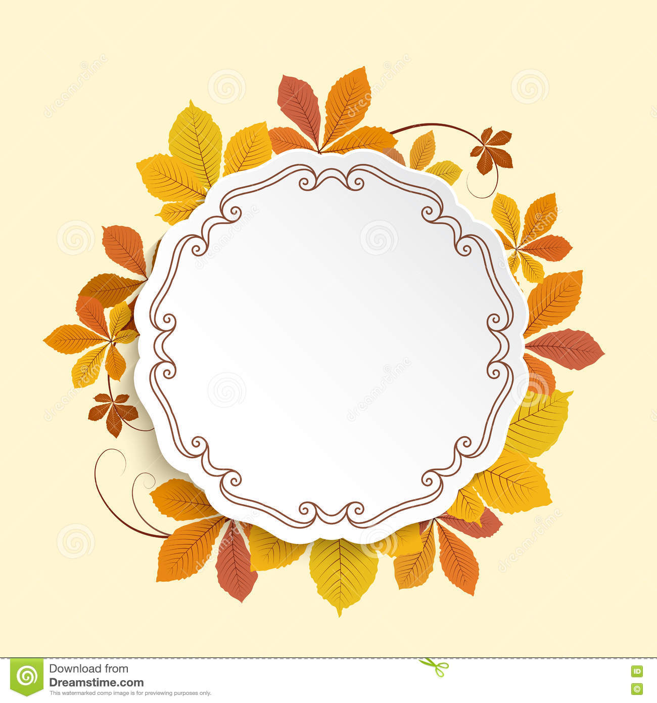 Autumn Label, Circle Frame With Yellow Leaves Stock Vector ...