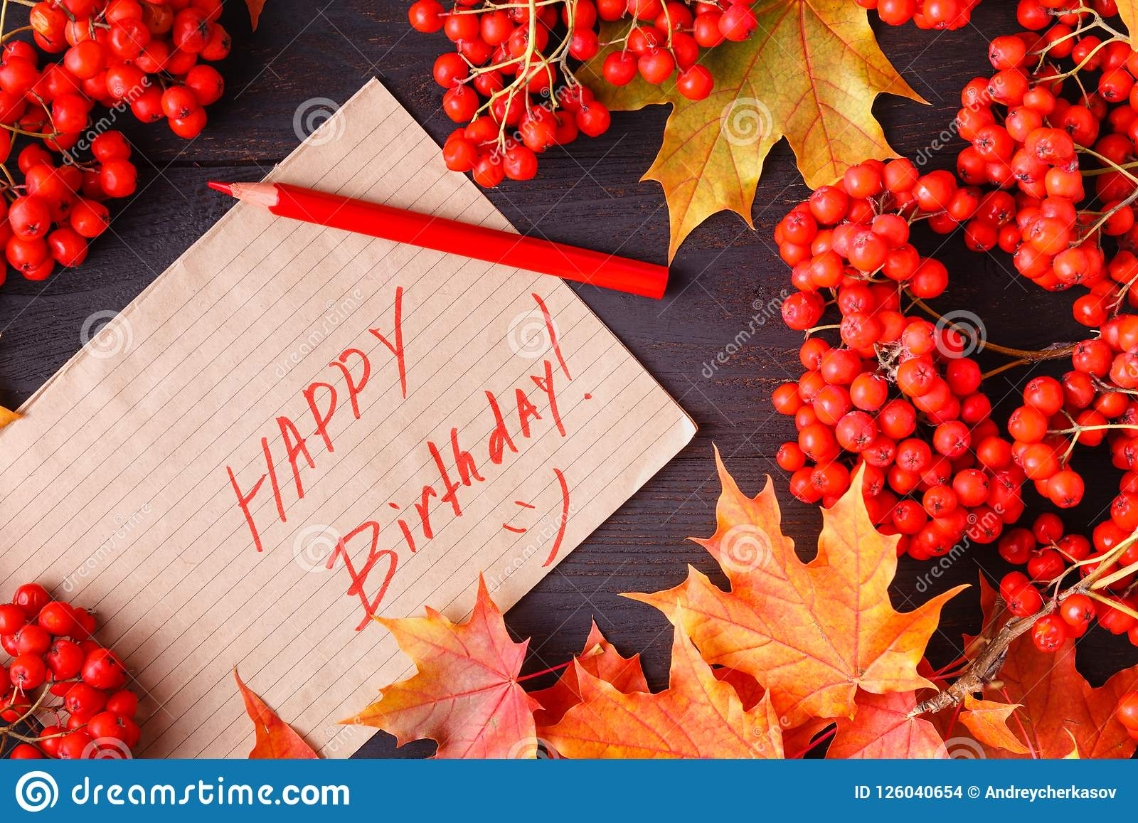 happy birthday autumn Autumn Label With The Words Happy Birthday On It Stock  happy birthday autumn