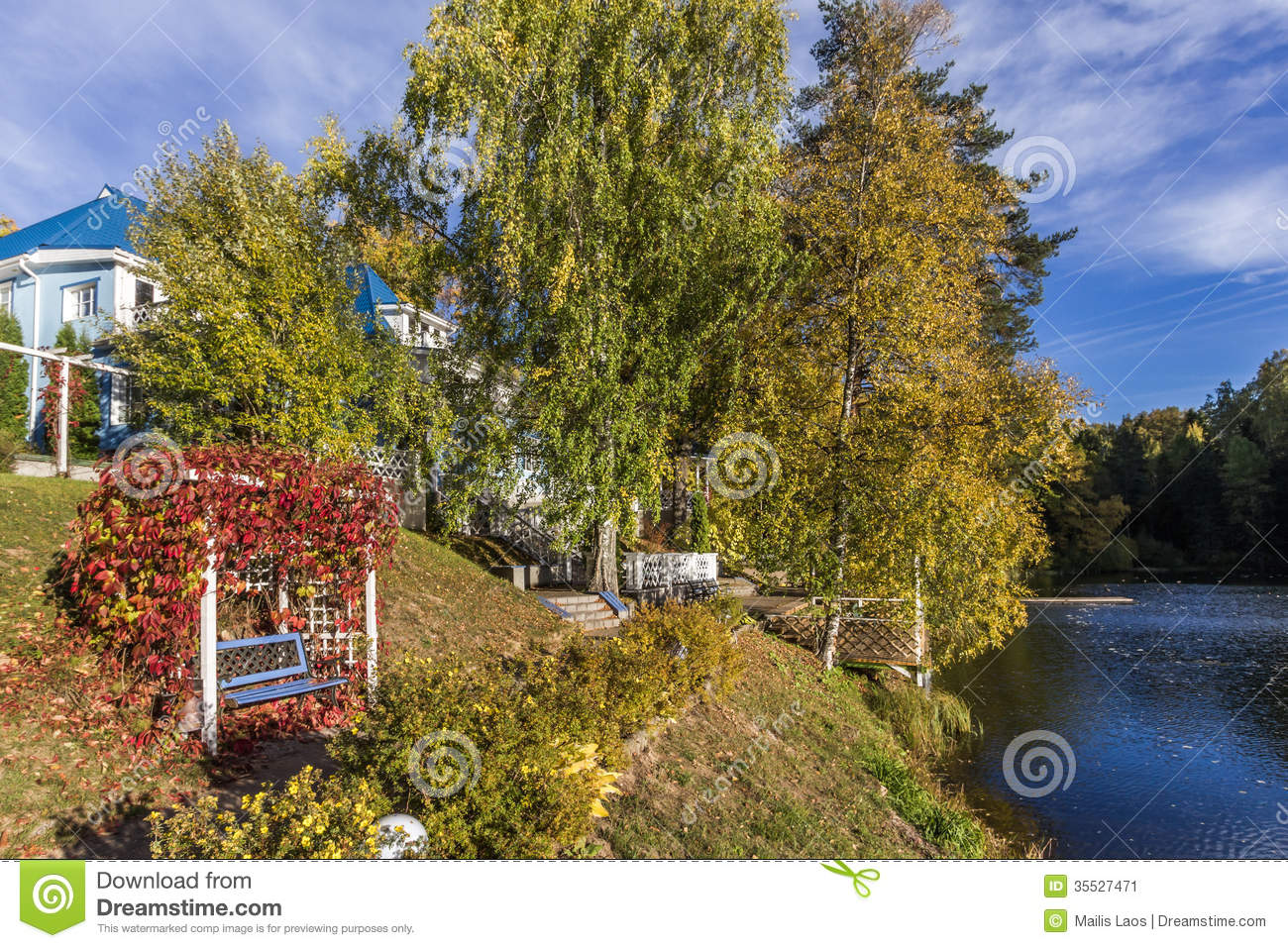 Download Autumn By The Lake stock image. Image of season, wharf - 35527471