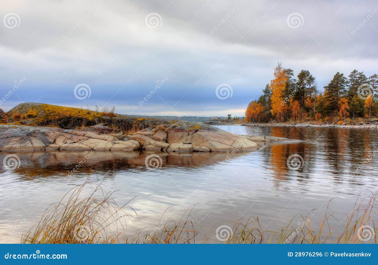 Autumn On Lake Ladoga, Karelia, Russia Stock Photo - Image ...