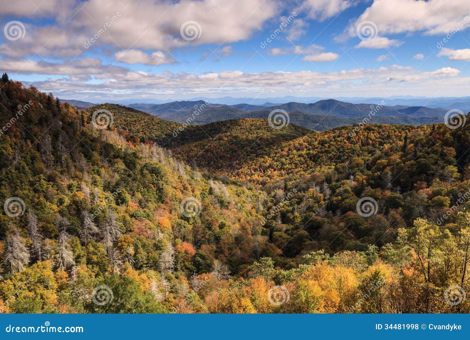 Autumn Landscape Blue Ridge Mountains Carolina del Norte