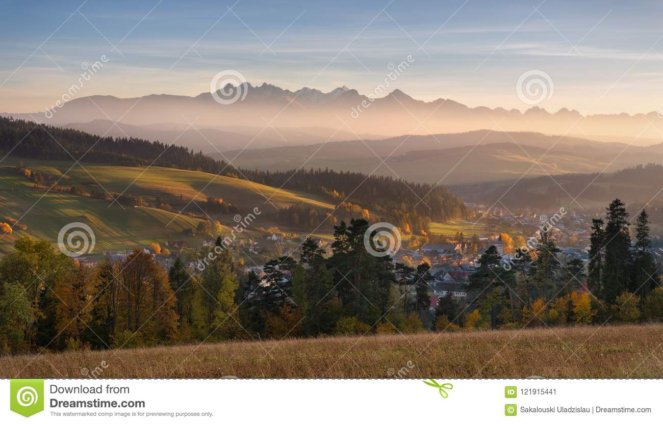 Autumn Landscape Of Poland Tatra Mountains. Beautiful View Of High Tatras And Picturesque Sunny Valley. Polish Rural Landscape Wit