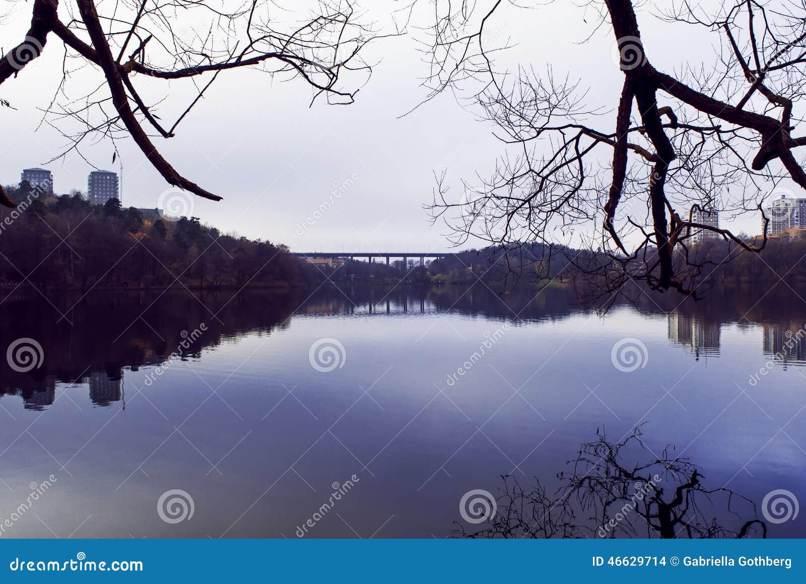 Autumn landscape reflection