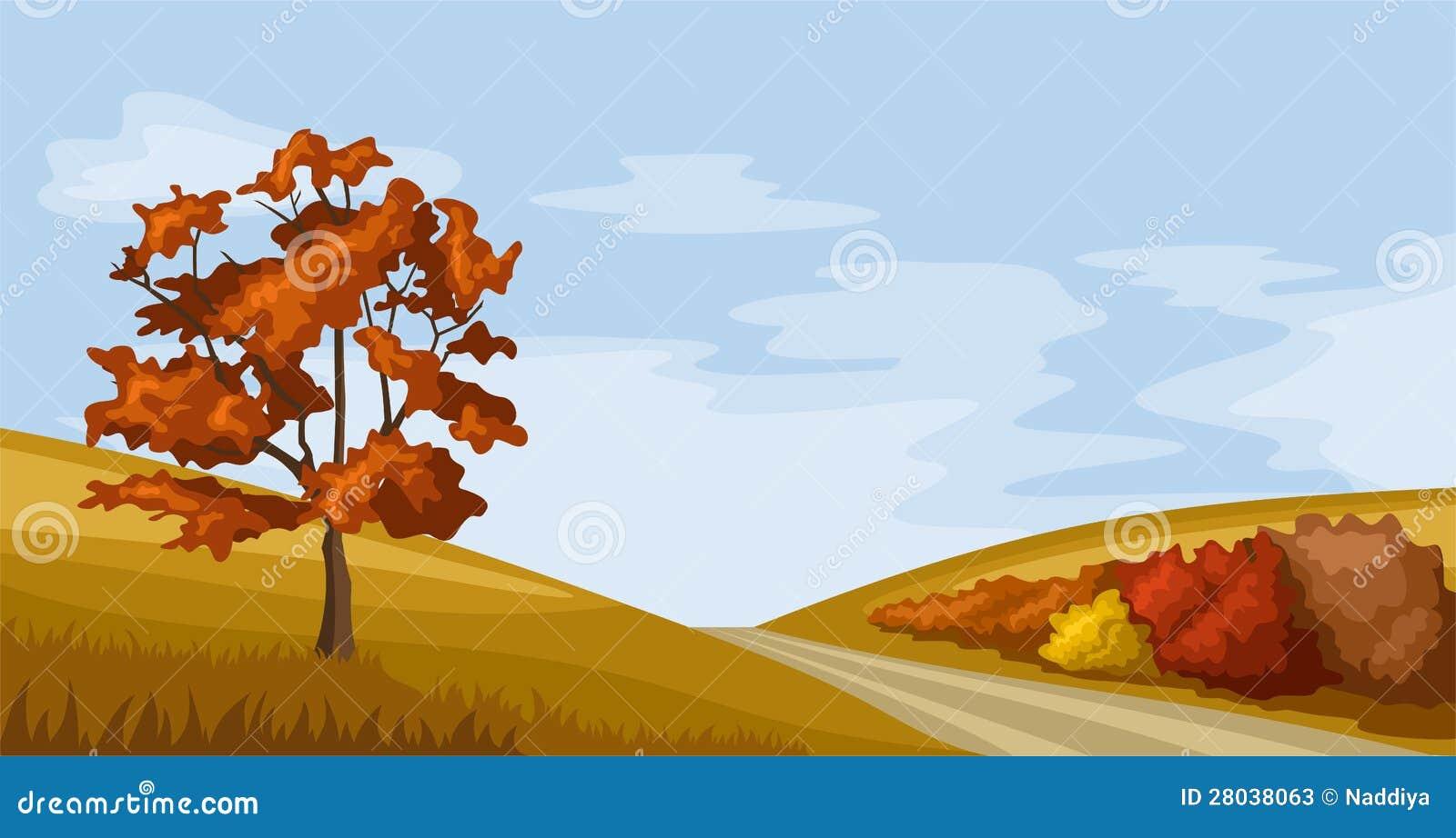 Landscape Illustration Vector Free: Autumn Landscape. Vector Illustration. Stock Vector