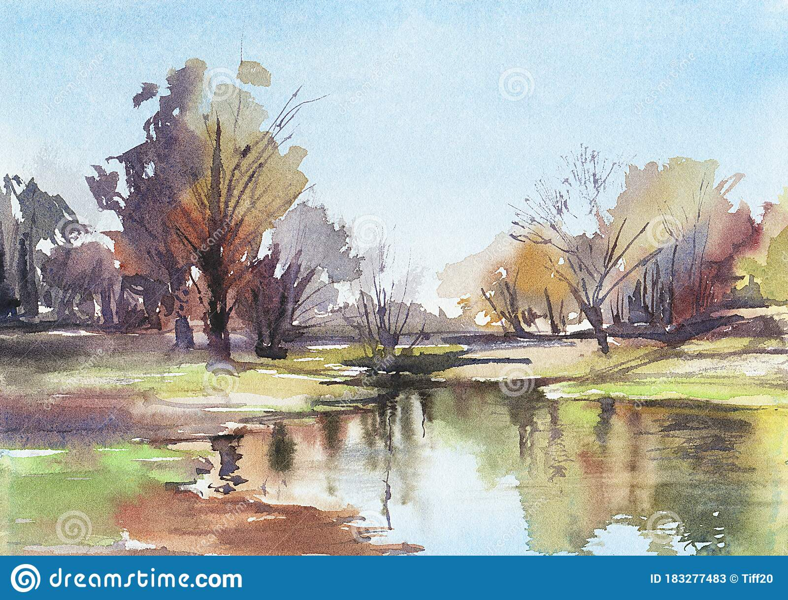 Autumn Landscape Watercolor Drawing Stock Illustration Illustration Of Nature Artist 183277483