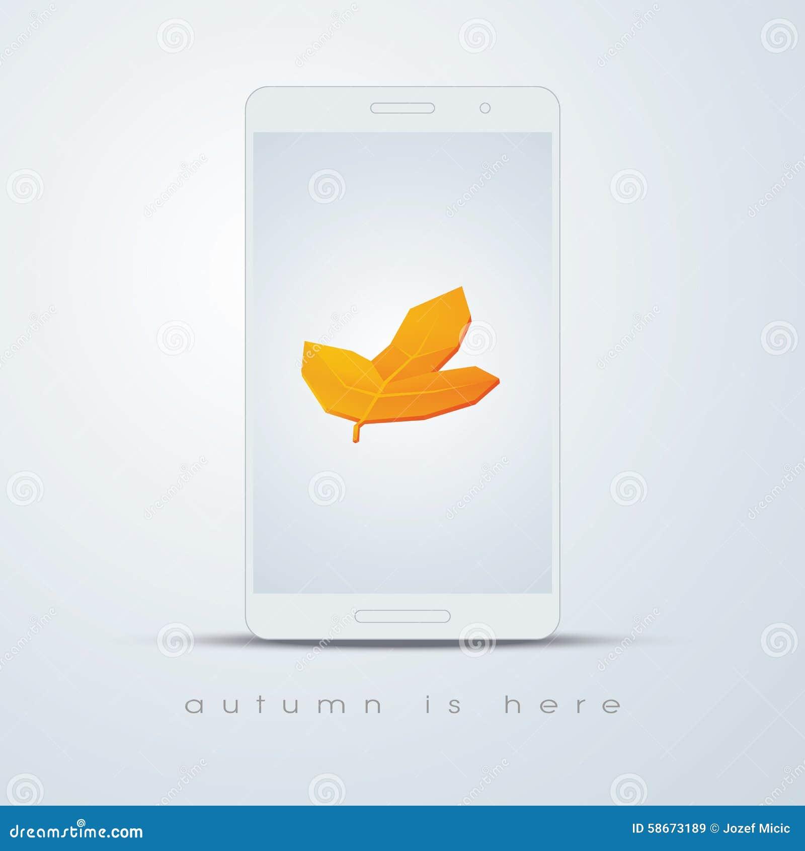Autumn Leaf On Smartphone Screen Foliage Symbol Stock Vector