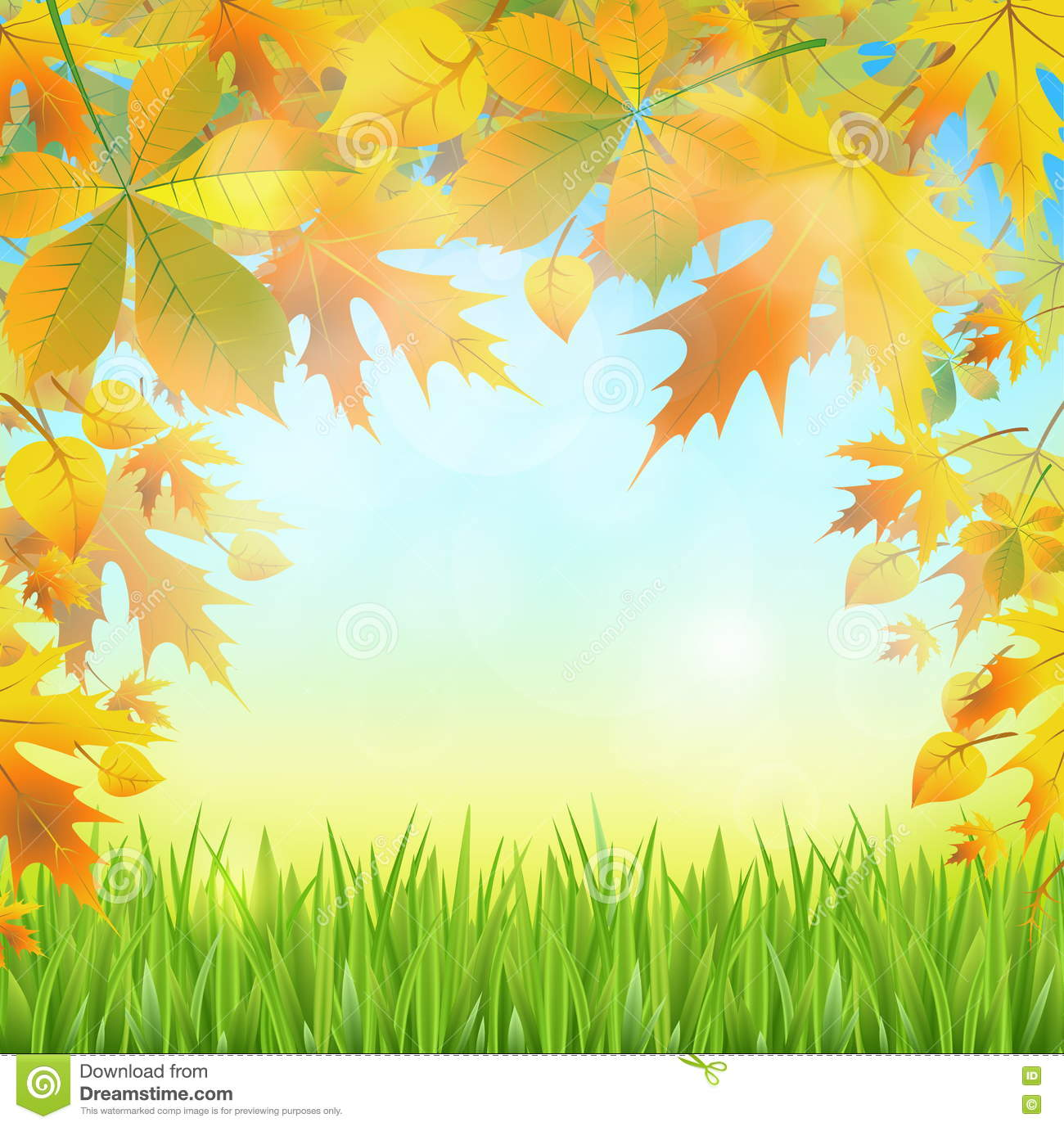 Autumn Leaves On The Abstract Background Of The Nature