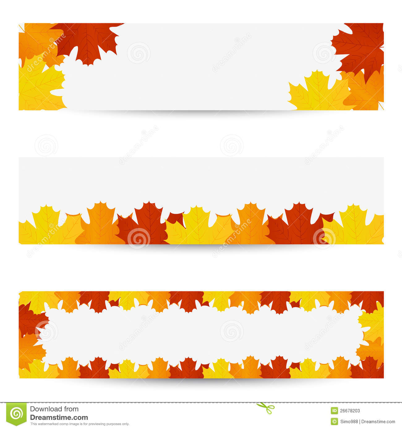 Autumn leaves banners stock vector. Illustration of ...