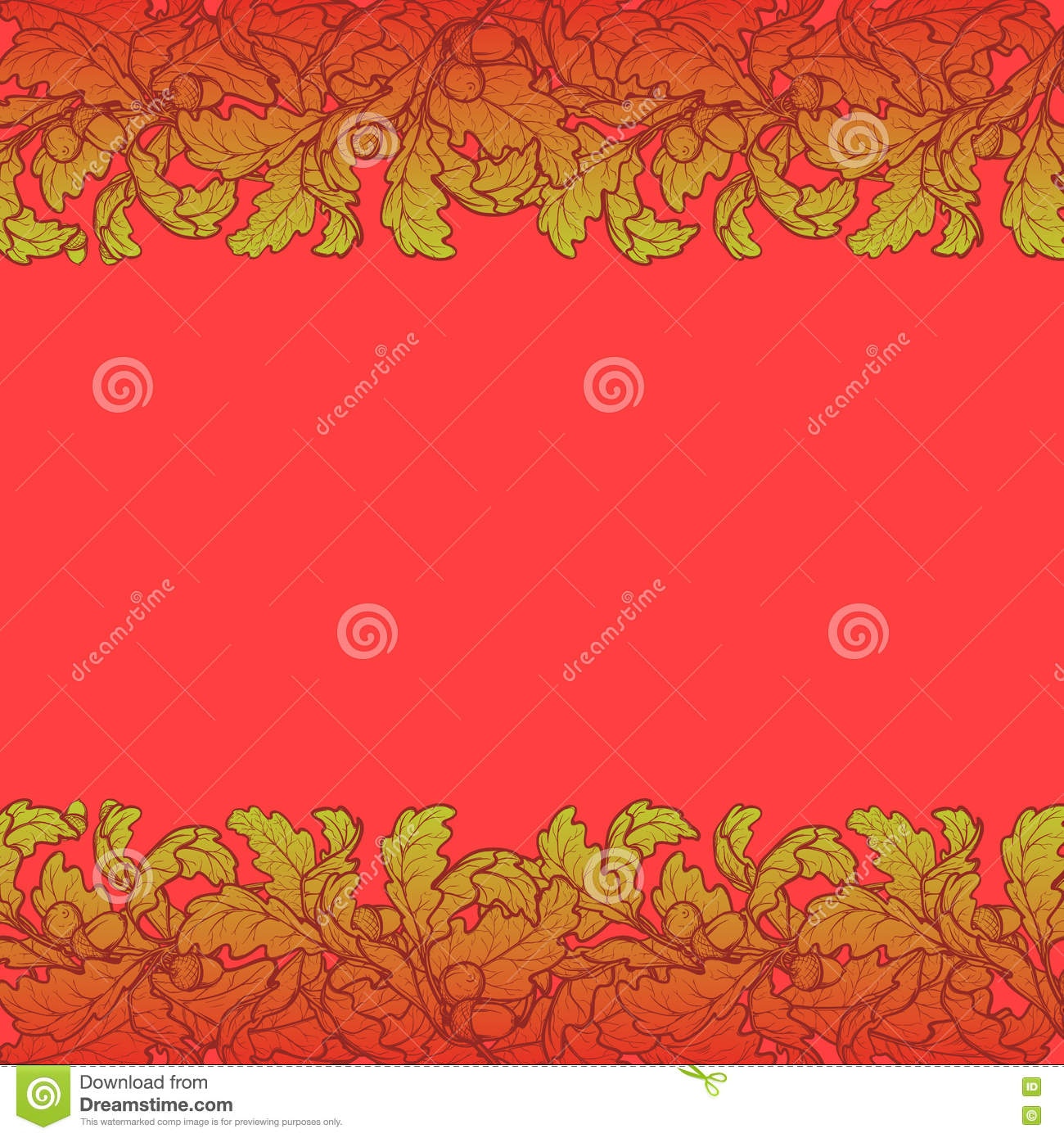 autumn leaves border brightly colored stock vector illustration