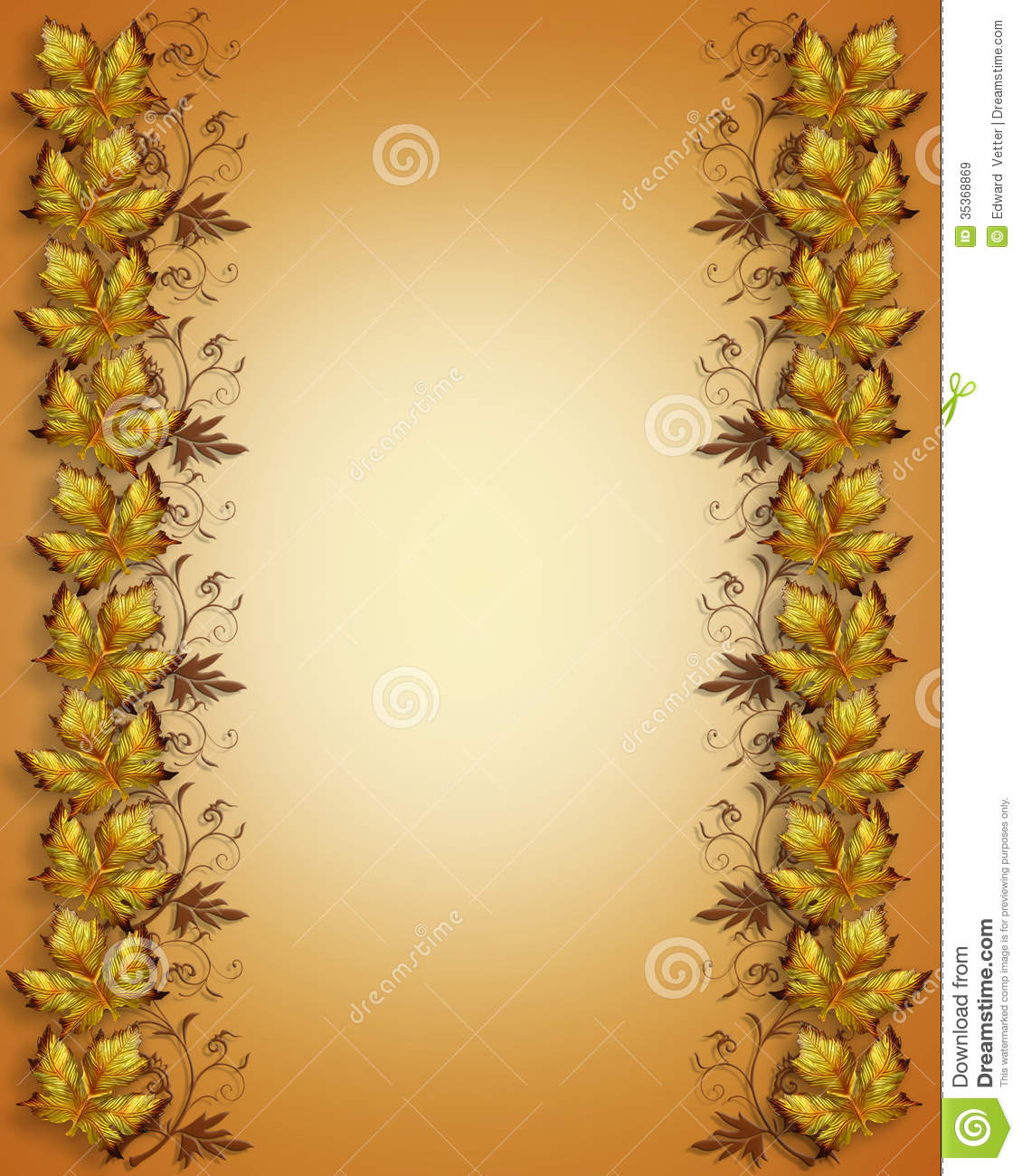 Autumn Leaves Border Stock Illustration Image Of Wedding 35368869