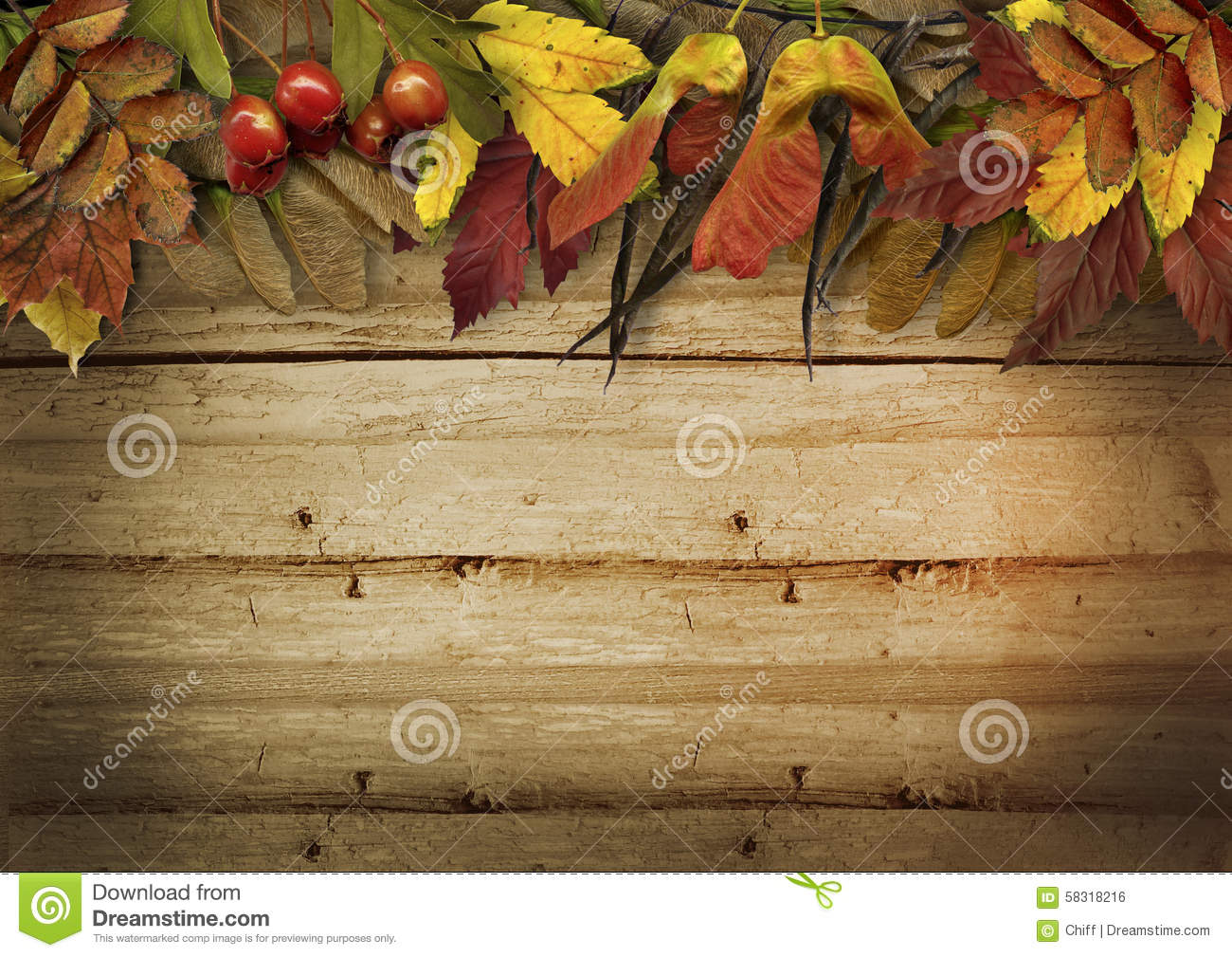 Autumn Leaves Border On Vintage Wooden Background Stock