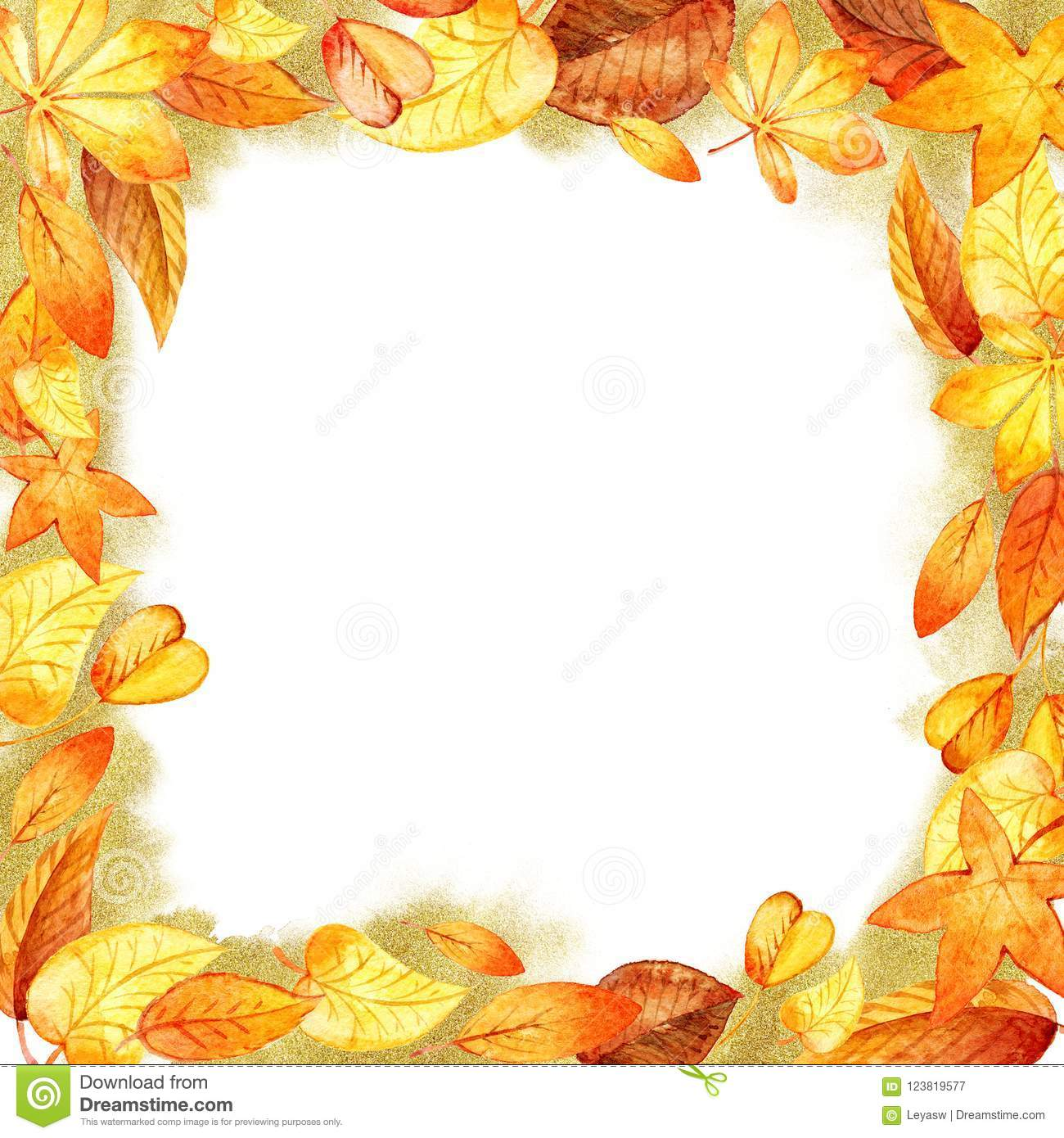 autumn leaves fall frame template watercolor isolated orange leaf
