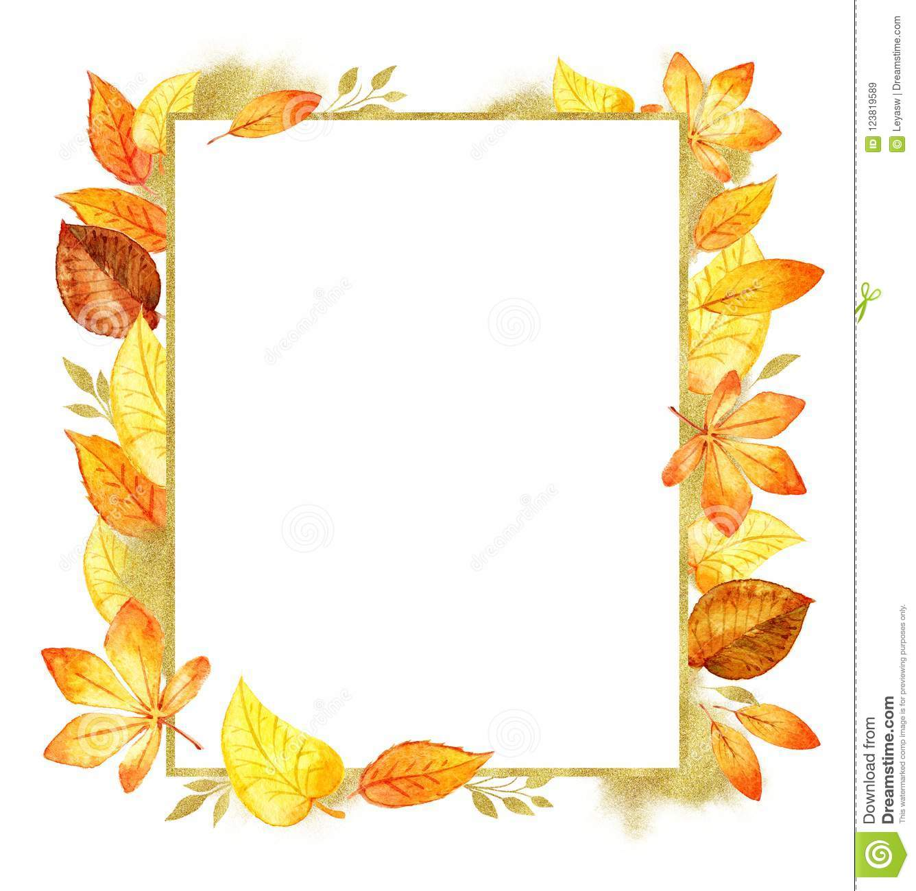 Autumn leaves fall frame template watercolor isolated orange leaf autumn leaves fall frame template watercolor illustration isolated orange leaf border maxwellsz