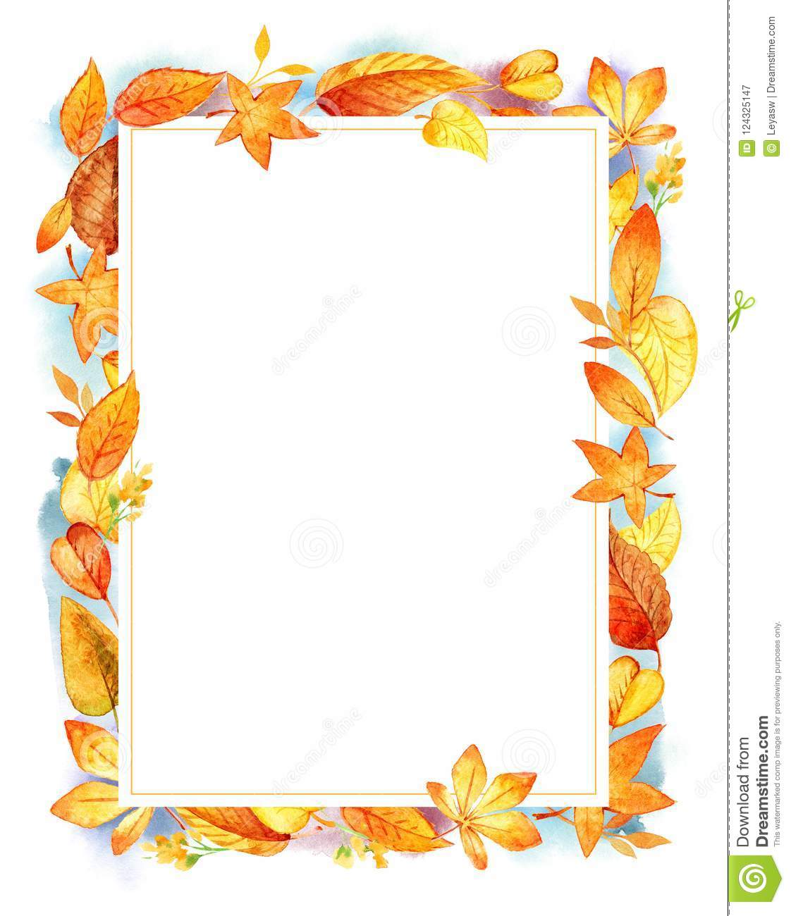 autumn leaves fall frame template watercolor illustration isolated