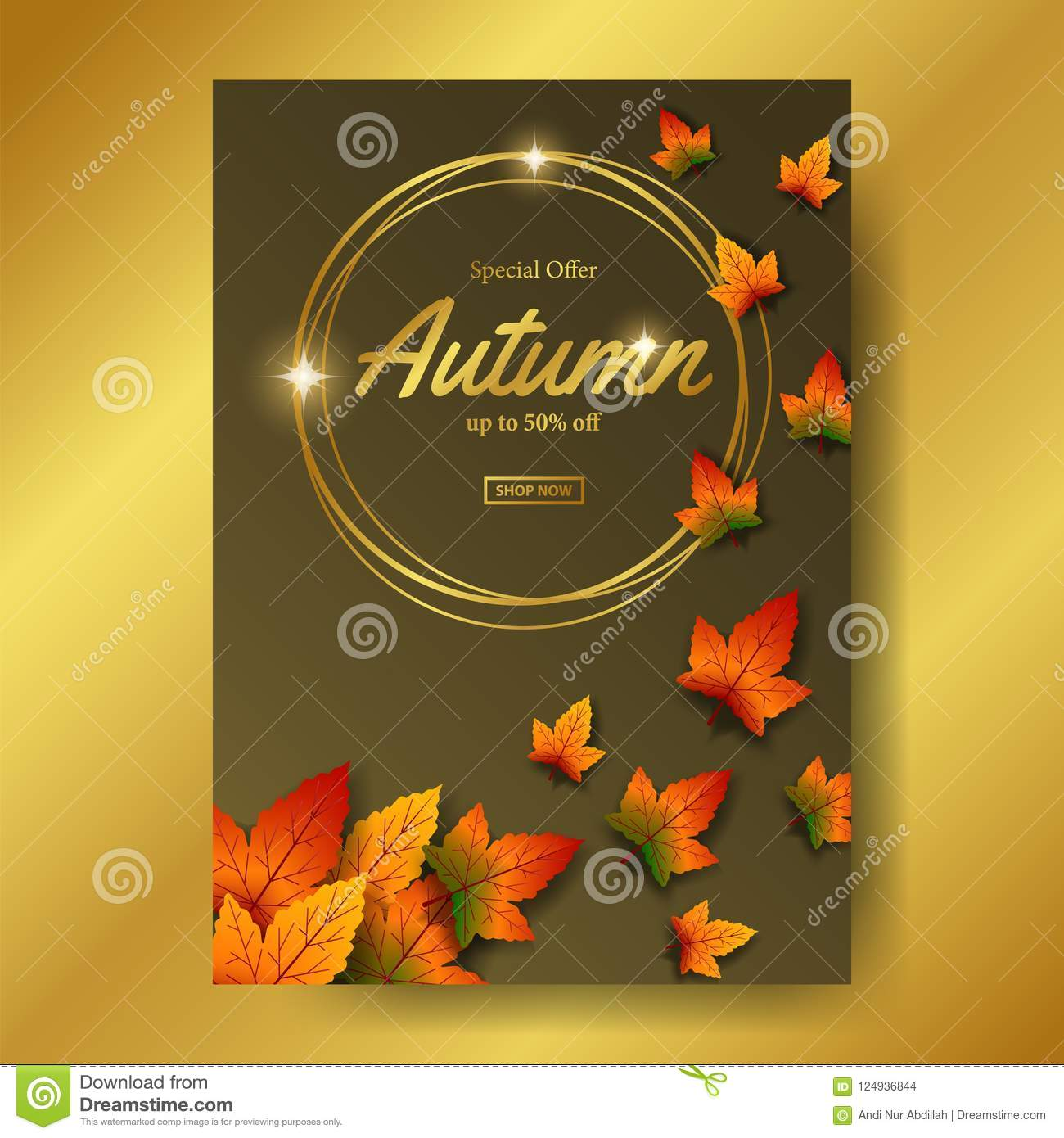autumn leaves fall with gold circle frame sale offer template