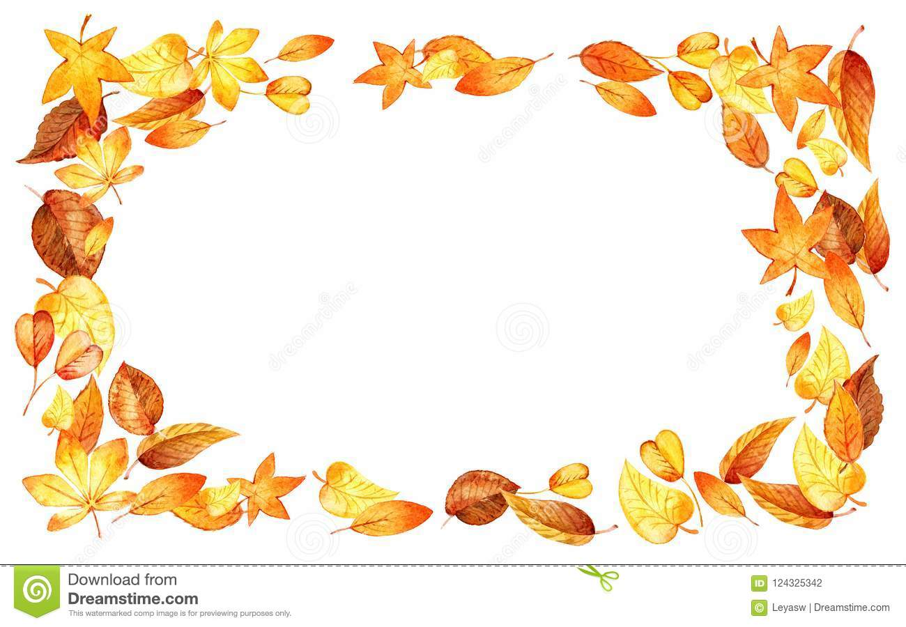 autumn leaves fall horizontal frame watercolor illustration