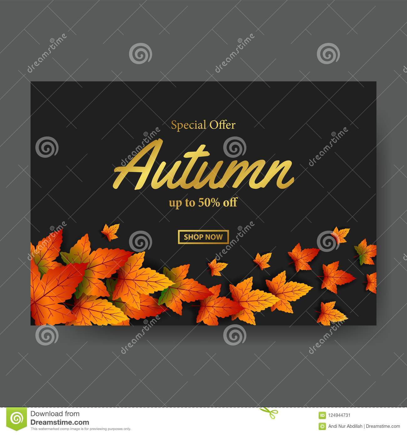 autumn leaves fall with gold text sale offer template poster