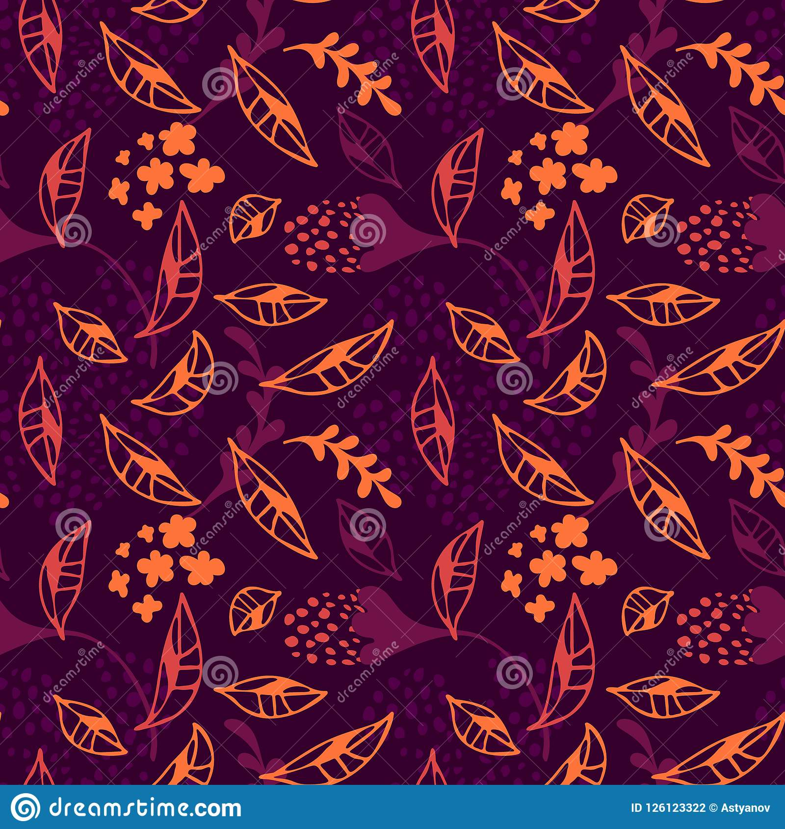 Trendy Modern Vector Abstract Autumn Leaves Fall Floral