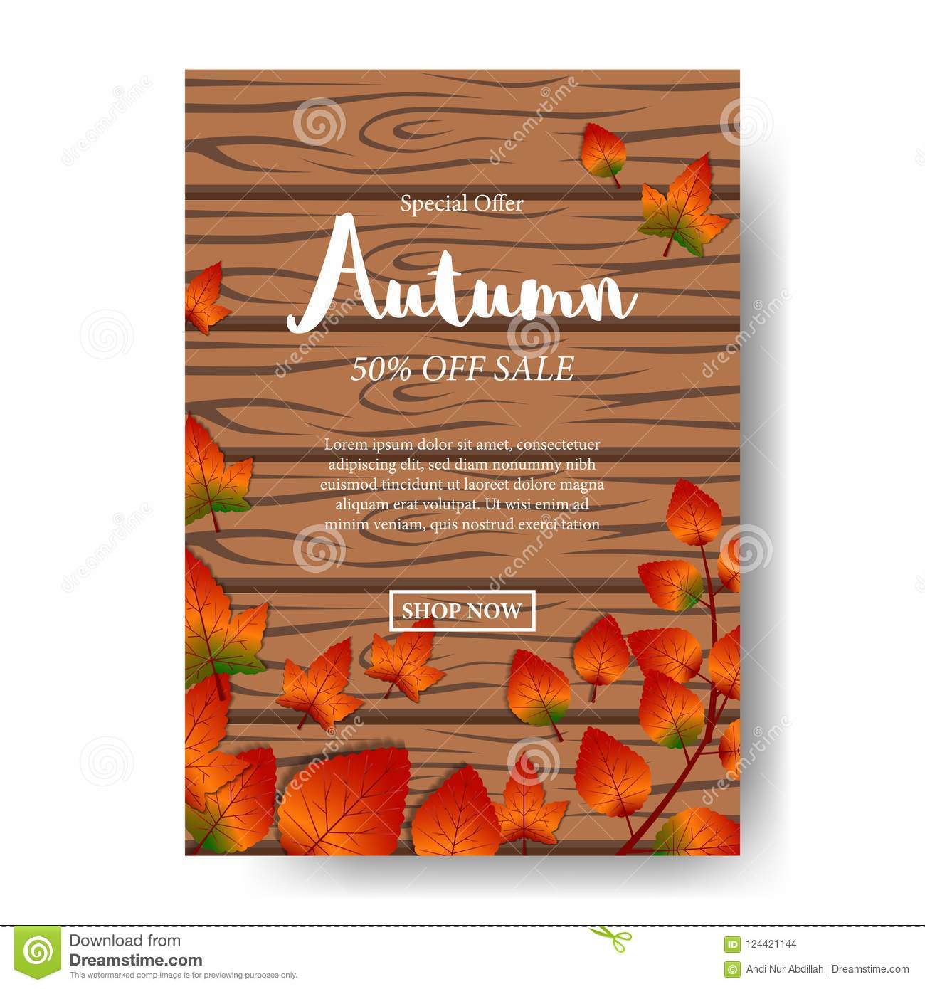 autumn leaves fall with wood background and white text poster sale