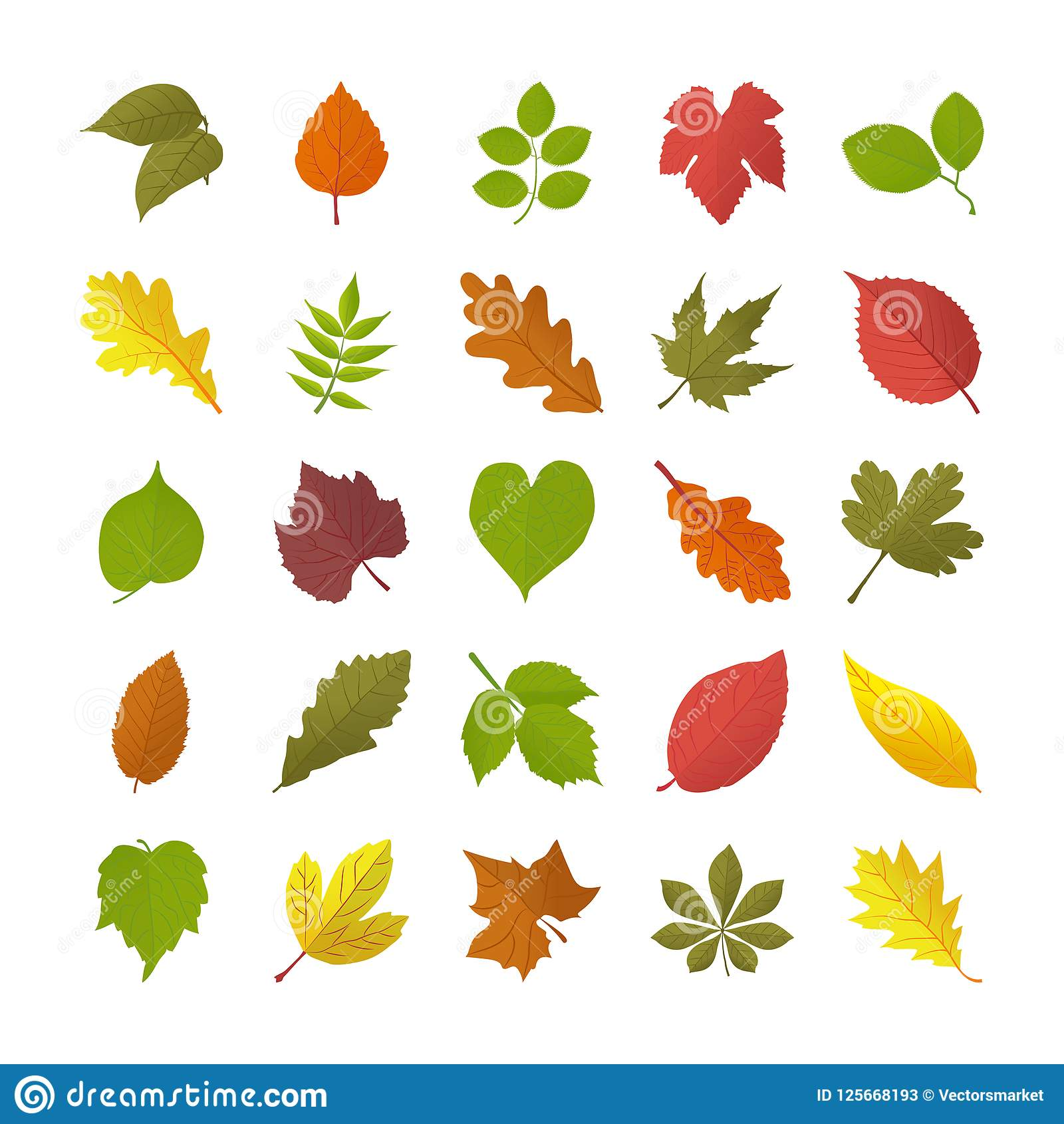 Autumn Leaves Flat Icons