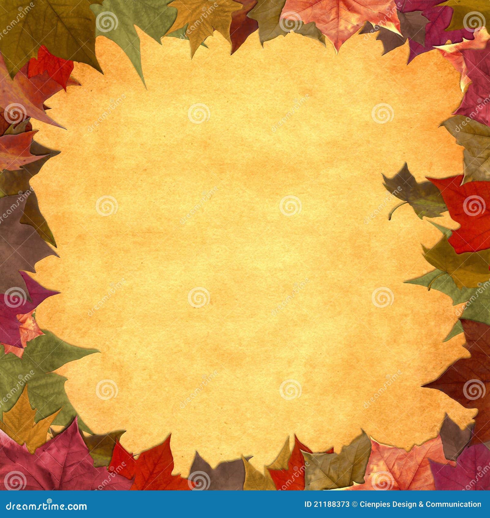 Autumn leaves grunge frame background