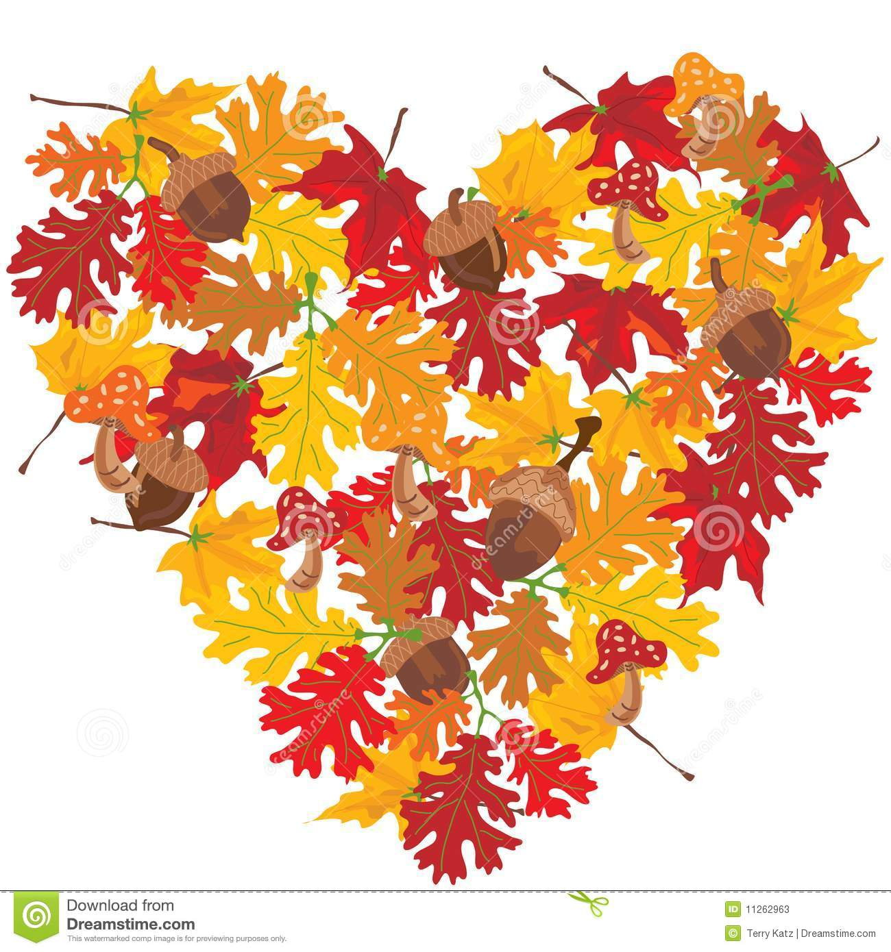 Autumn Leaves Heart stock vector. Illustration of ...