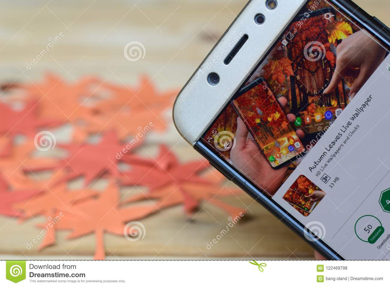 Autumn Leaves Live Wallpaper App En La Pantalla De