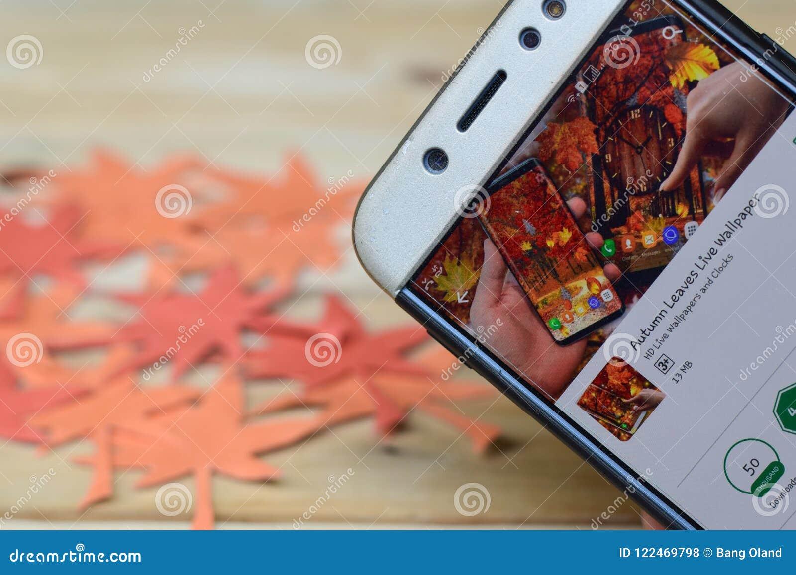 Autumn Leaves Live Wallpaper App En La Pantalla De