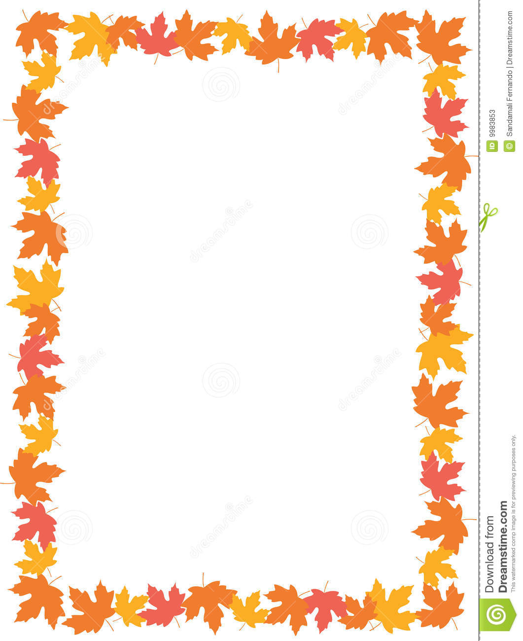 Colorful autumn leaves maple leaves falling background border