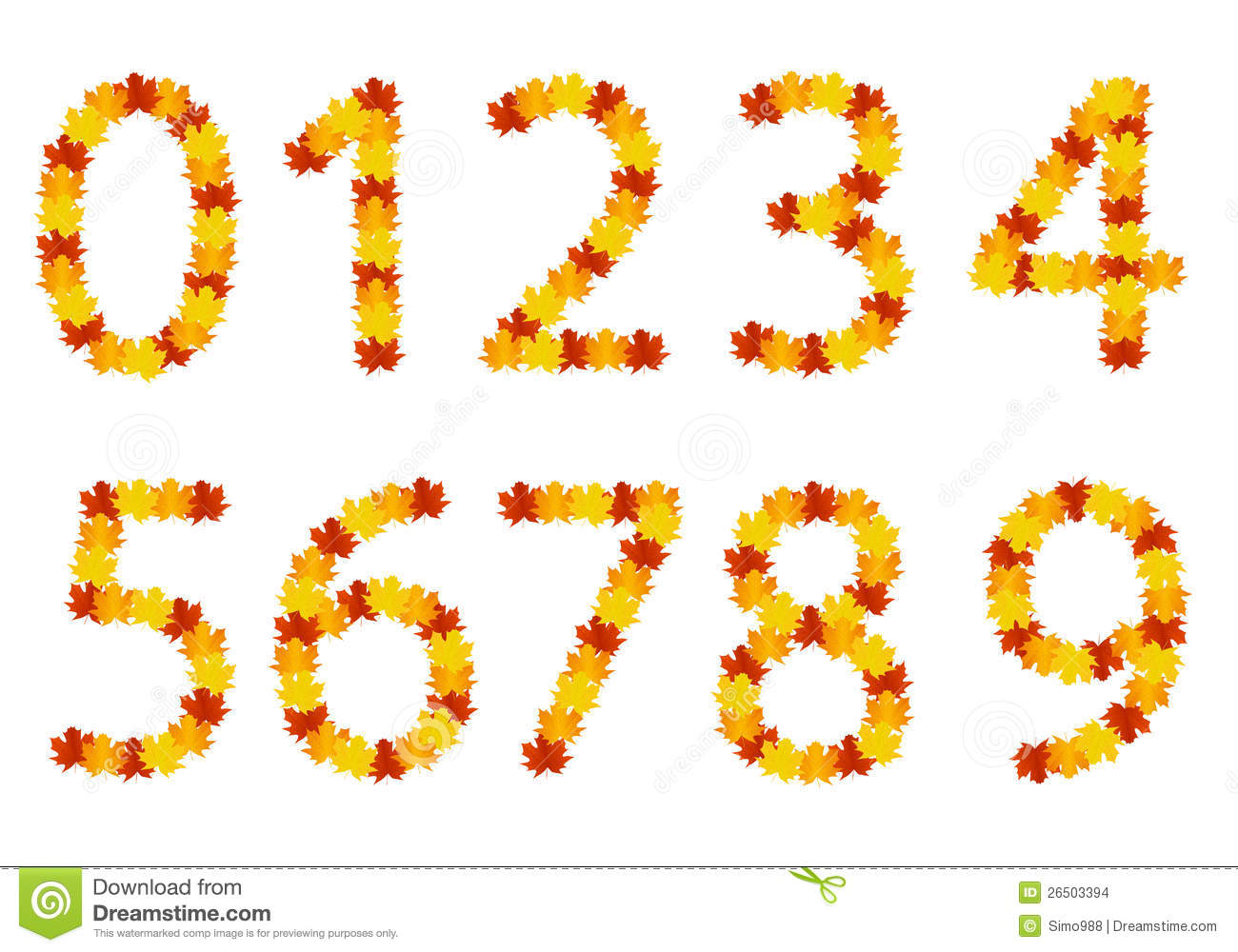 Autumn Leaves Numbers Stock Images Image 26503394