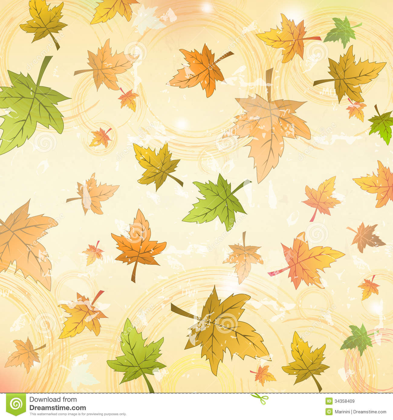 Autumn Leaves Over Old Paper Retro Background Royalty Free