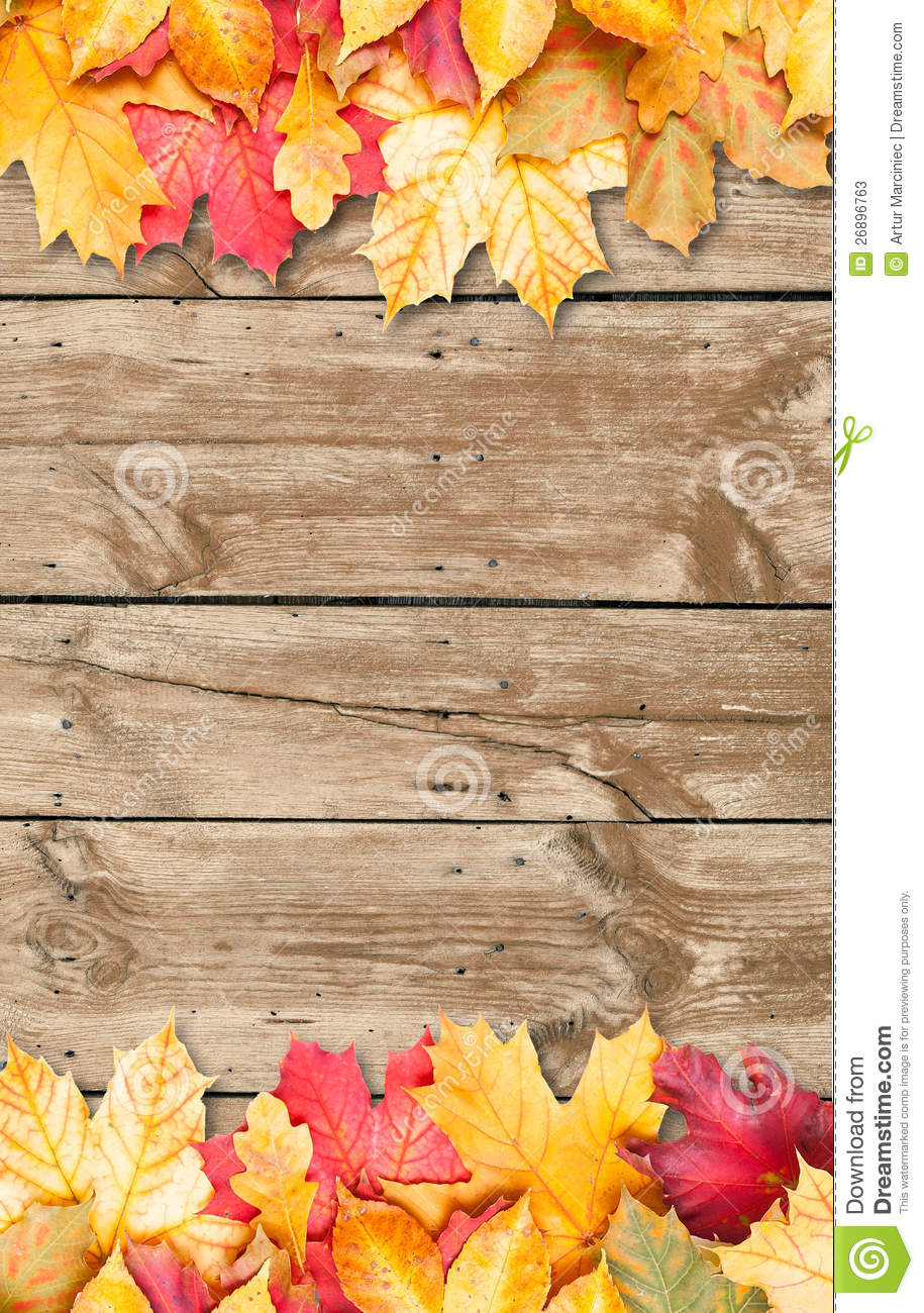 Autumn Leaves Over Wooden Background Copy Space Stock